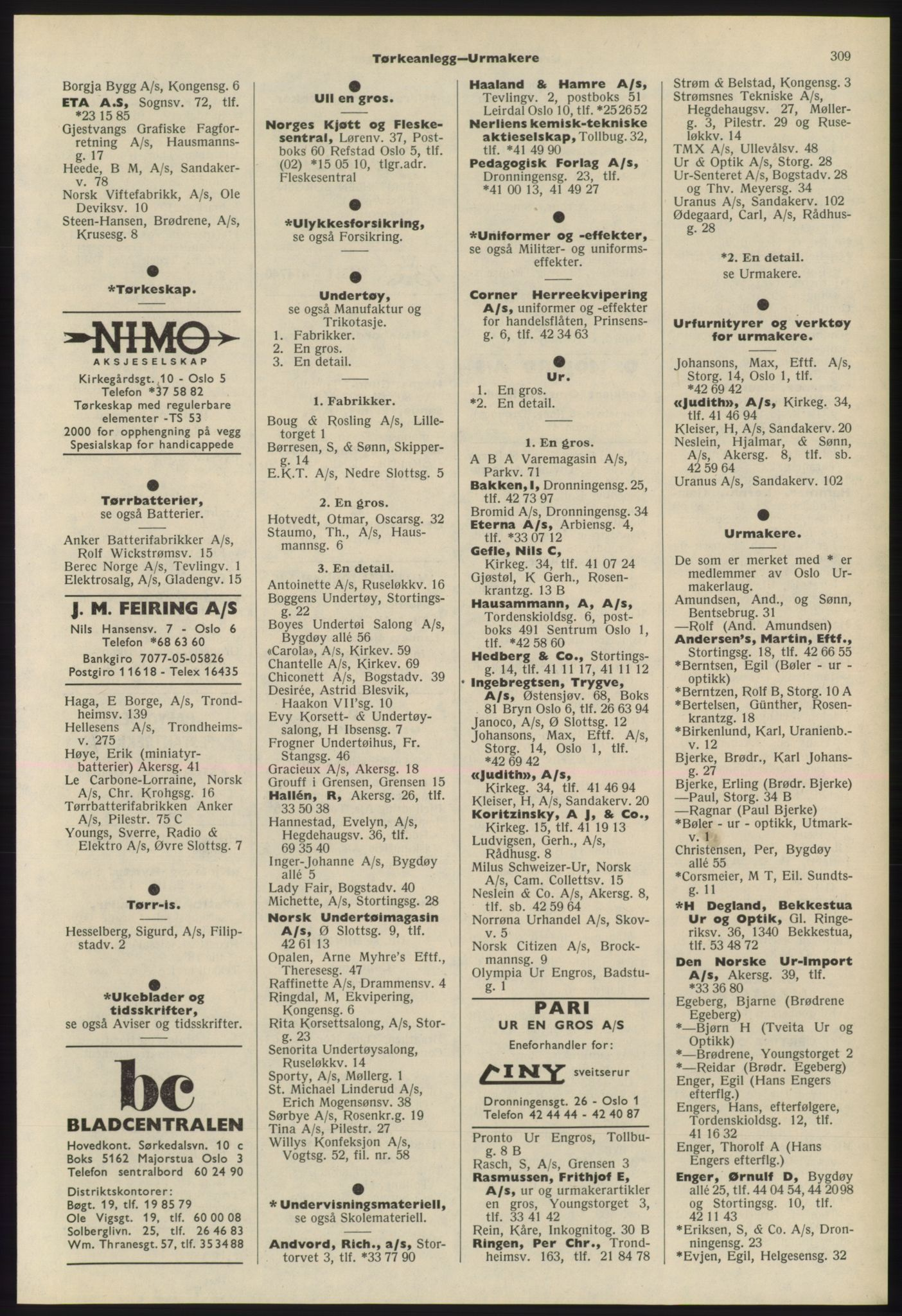 PUBL, Kristiania/Oslo adressebok, 1975-1976, s. 309