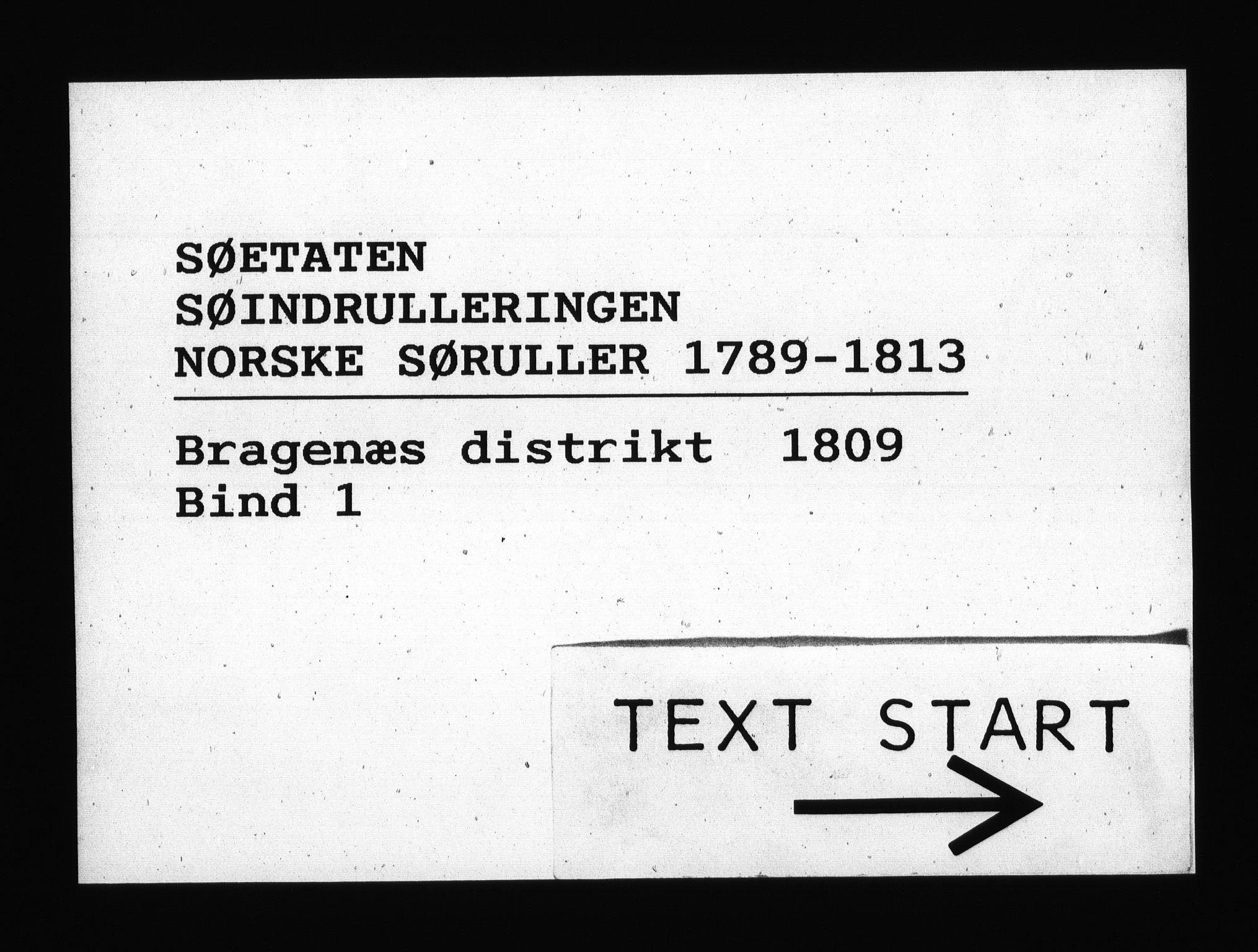 RA, Sjøetaten, F/L0156: Bragernes distrikt, bind 1, 1809