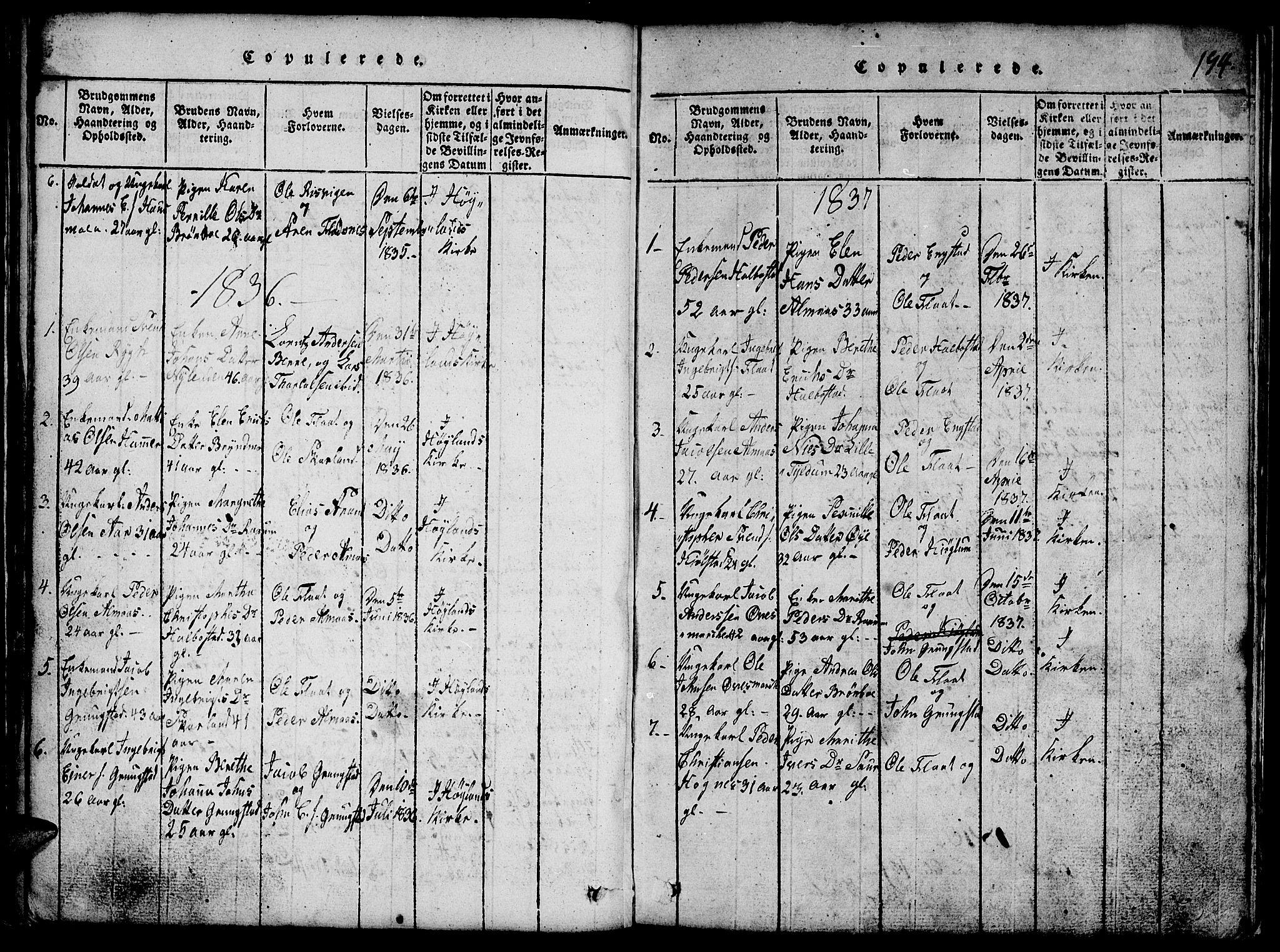 SAT, Ministerialprotokoller, klokkerbøker og fødselsregistre - Nord-Trøndelag, 765/L0562: Klokkerbok nr. 765C01, 1817-1851, s. 194