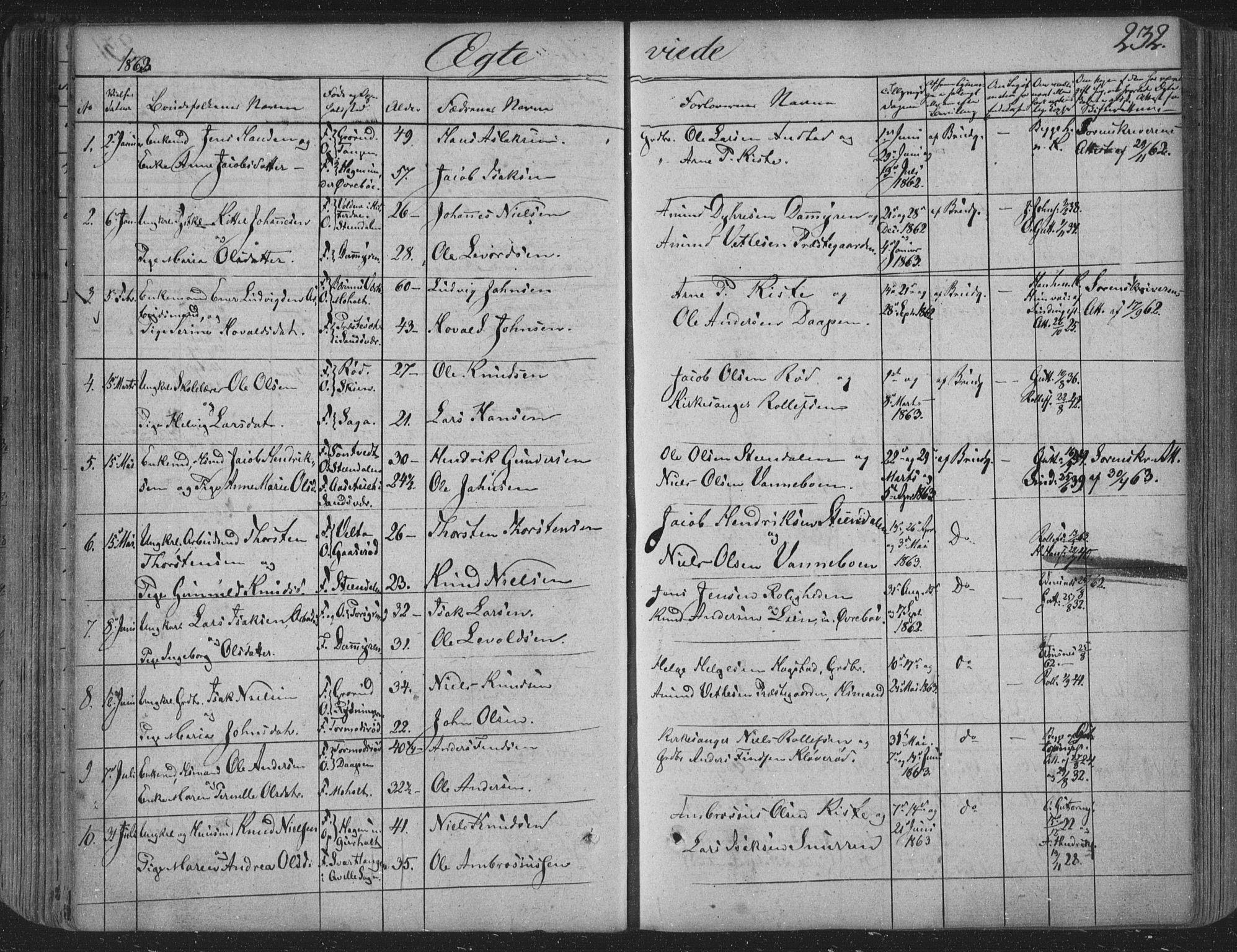 SAKO, Siljan kirkebøker, F/Fa/L0001: Ministerialbok nr. 1, 1831-1870, s. 232