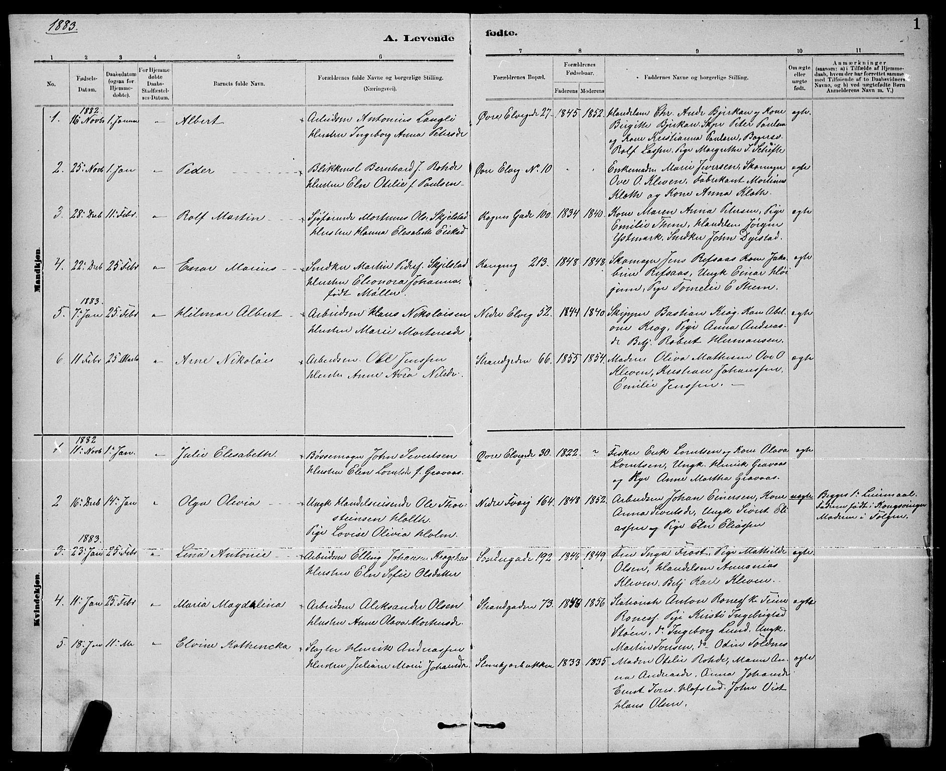 SAT, Ministerialprotokoller, klokkerbøker og fødselsregistre - Nord-Trøndelag, 739/L0374: Klokkerbok nr. 739C02, 1883-1898, s. 1