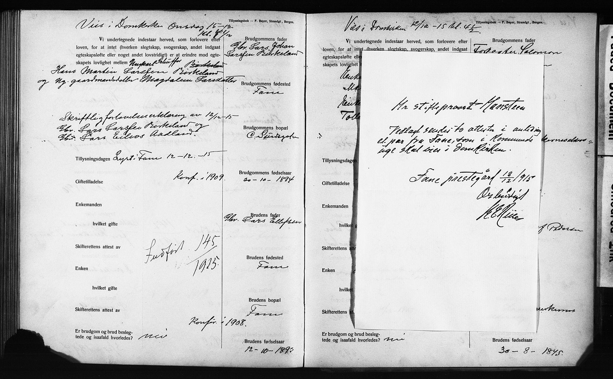 SAB, Domkirken Sokneprestembete, Forlovererklæringer nr. II.5.12, 1910-1917, s. 323