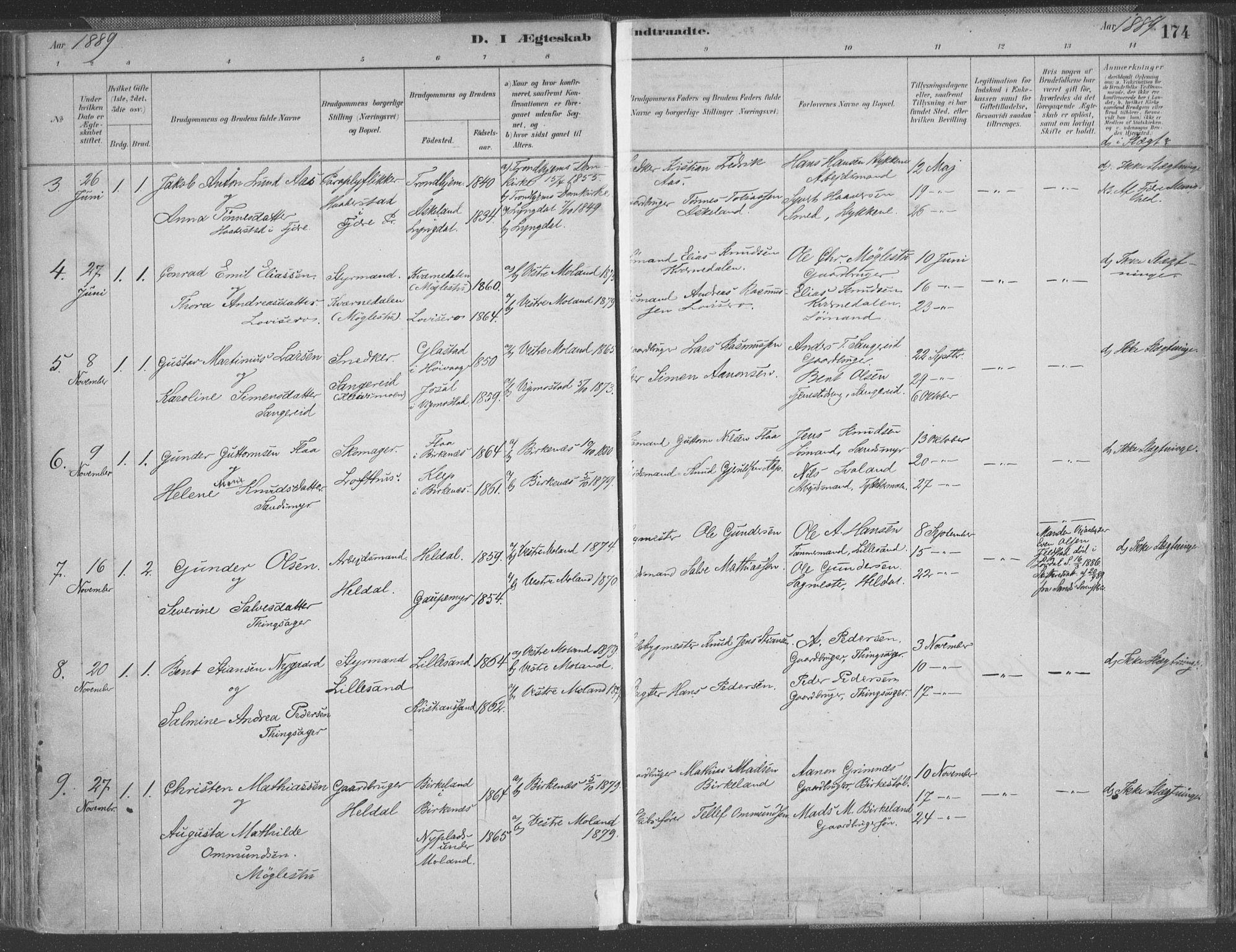 SAK, Vestre Moland sokneprestkontor, F/Fa/Fab/L0009: Ministerialbok nr. A 9, 1884-1899, s. 174
