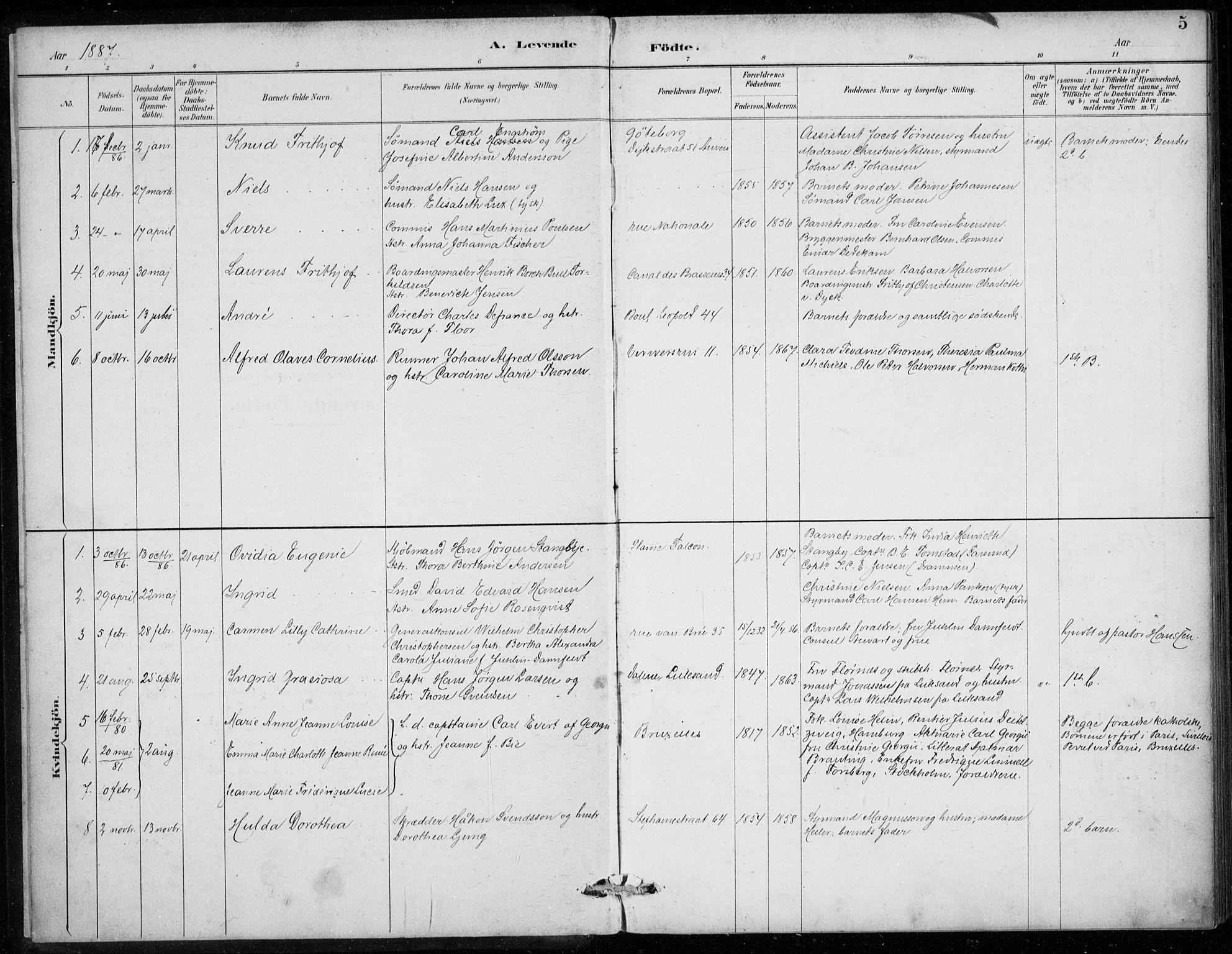 SAB, Den Norske Sjømannsmisjon i utlandet*, Ministerialbok nr. A 2, 1887-1913, s. 5