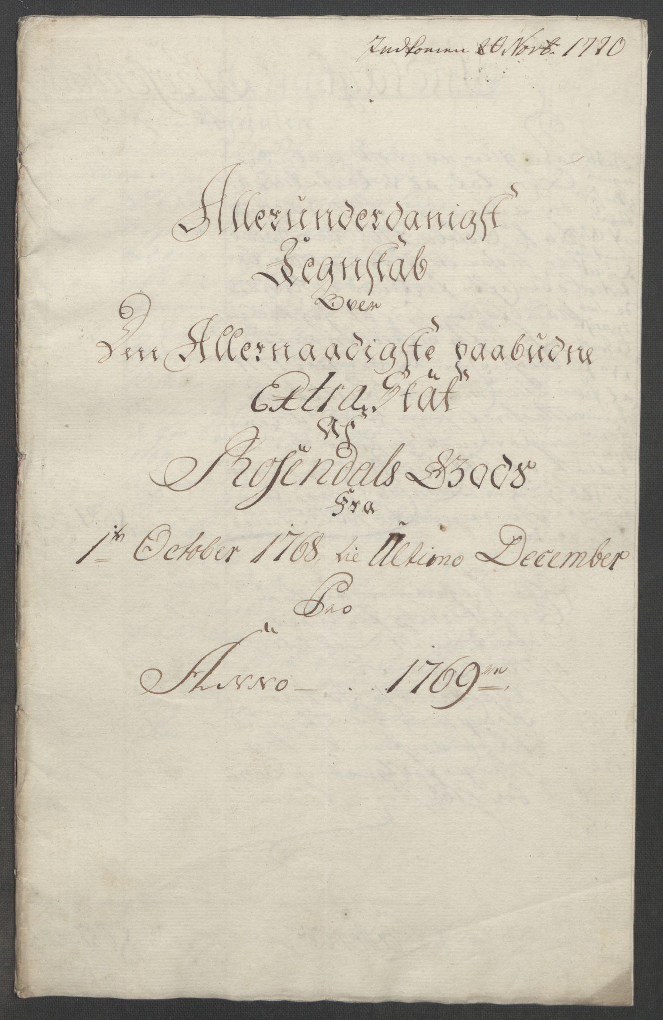 RA, Rentekammeret inntil 1814, Reviderte regnskaper, Fogderegnskap, R49/L3157: Ekstraskatten Rosendal Baroni, 1762-1772, s. 243