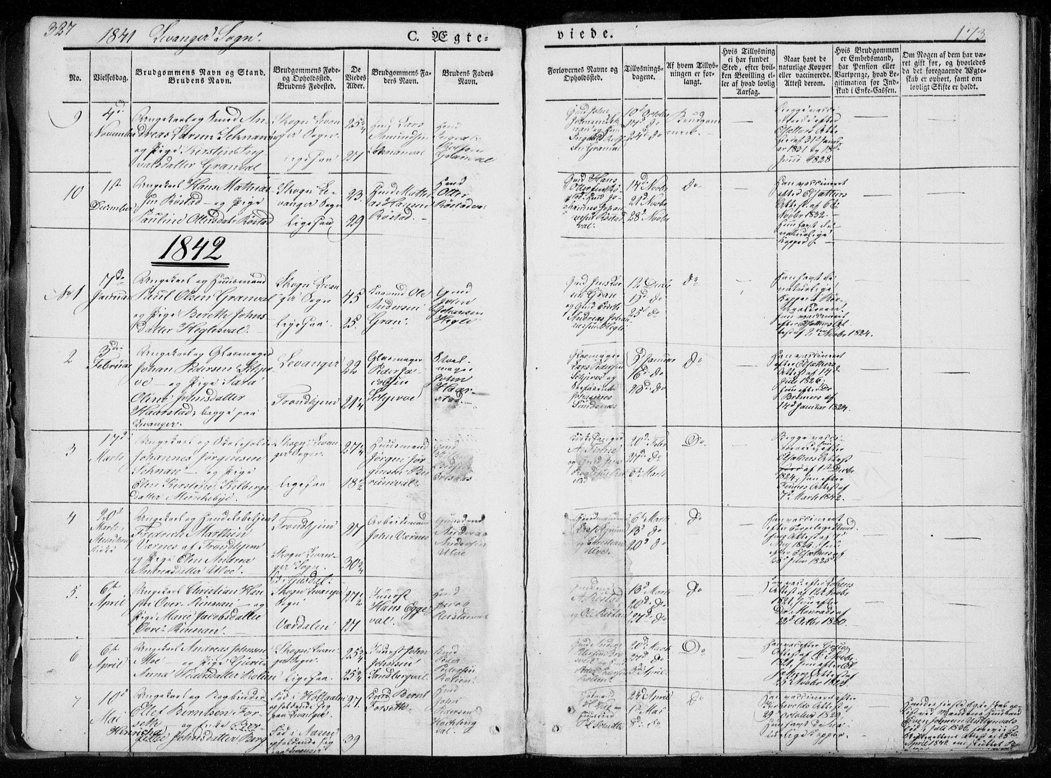 SAT, Ministerialprotokoller, klokkerbøker og fødselsregistre - Nord-Trøndelag, 720/L0183: Ministerialbok nr. 720A01, 1836-1855, s. 173