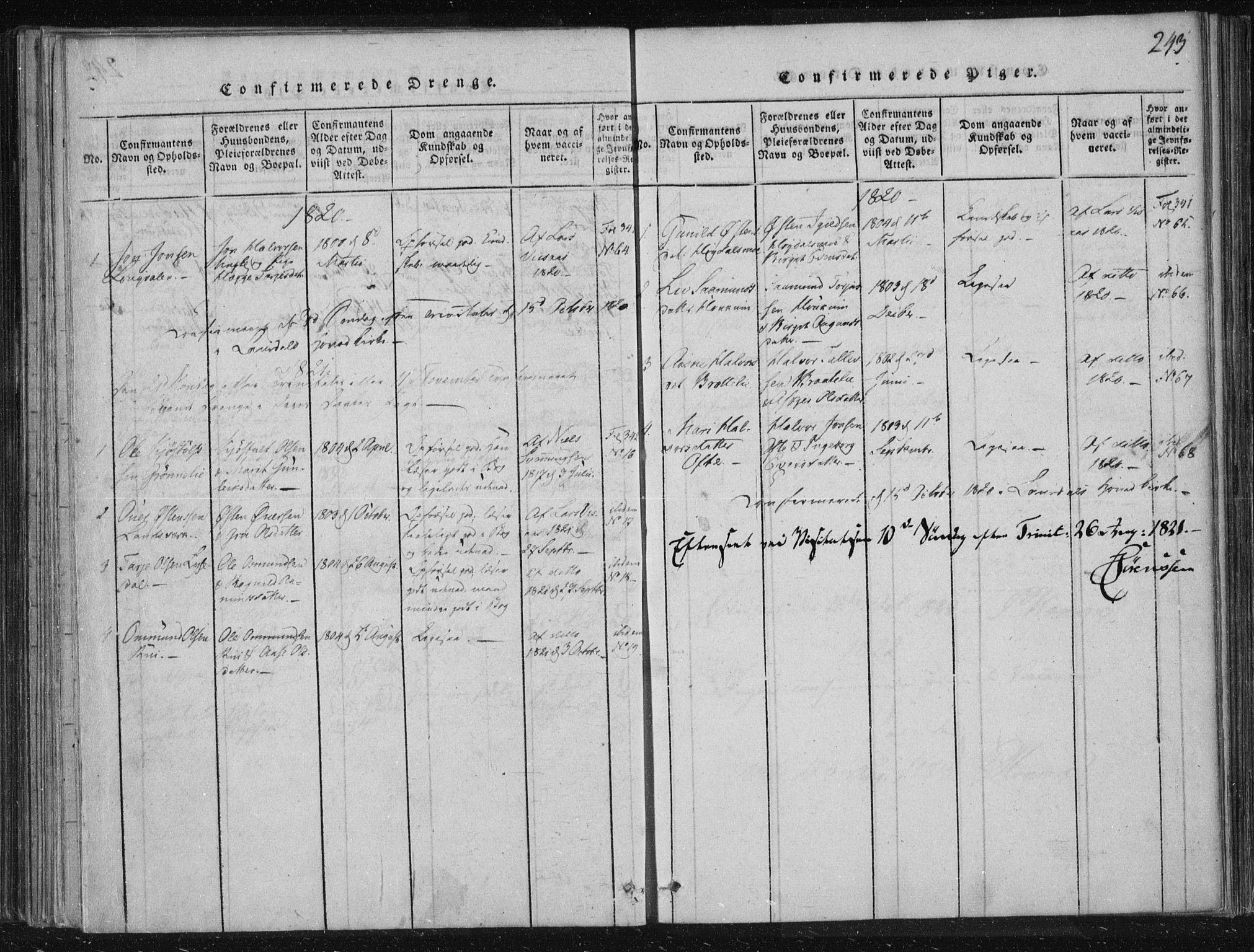 SAKO, Lårdal kirkebøker, F/Fc/L0001: Ministerialbok nr. III 1, 1815-1860, s. 243