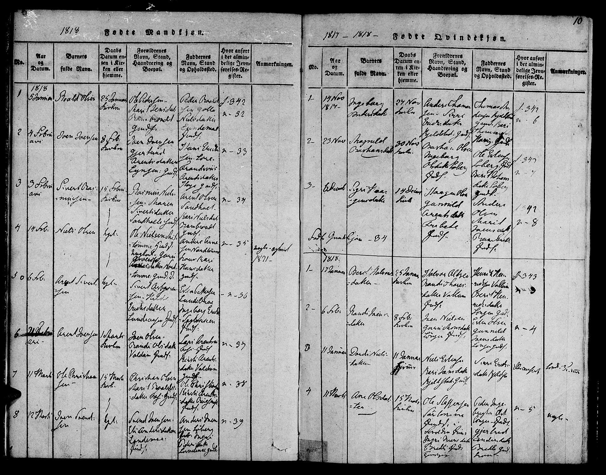 SAT, Ministerialprotokoller, klokkerbøker og fødselsregistre - Sør-Trøndelag, 692/L1102: Ministerialbok nr. 692A02, 1816-1842, s. 10