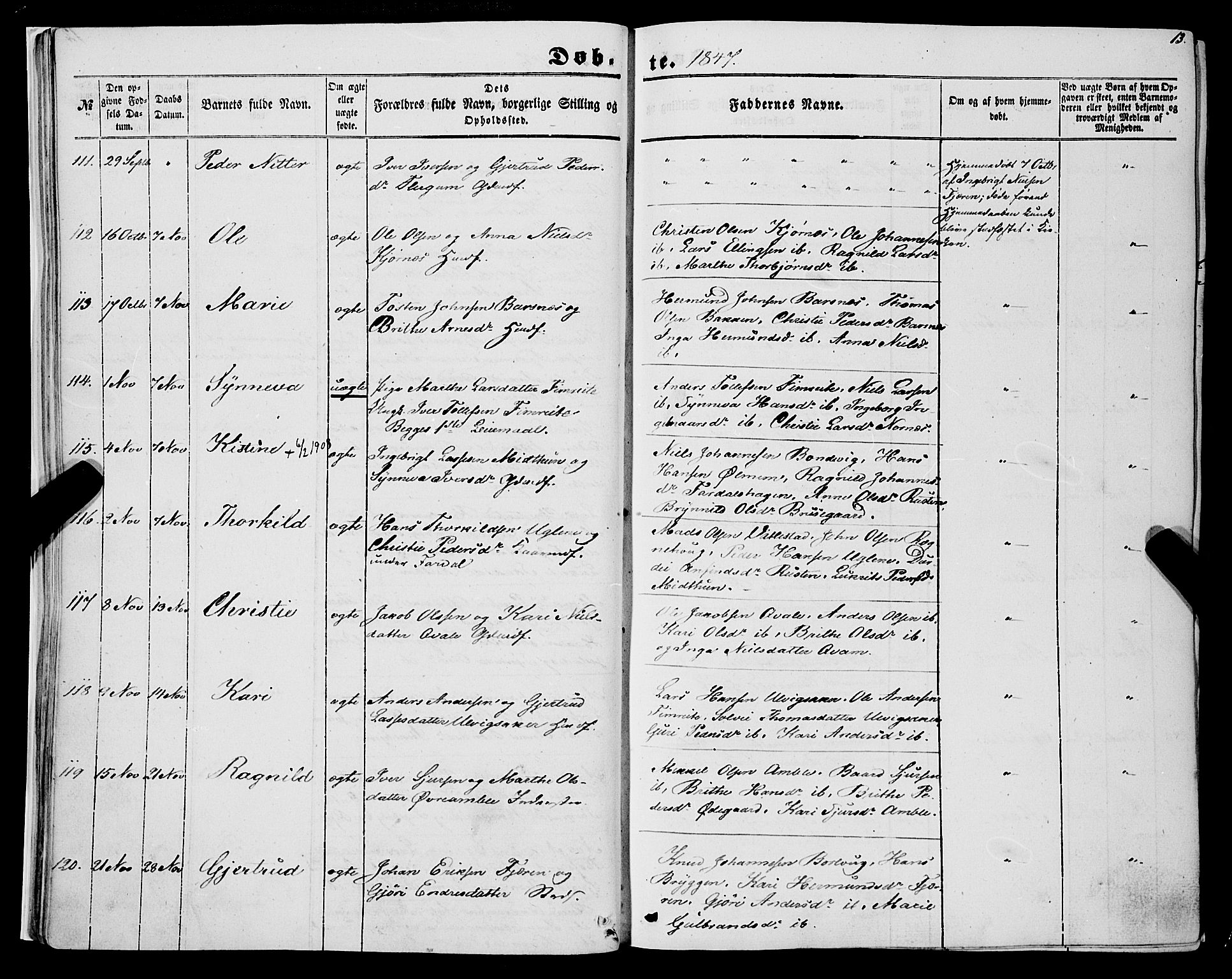SAB, Sogndal sokneprestembete, H/Haa/Haaa/L0012I: Ministerialbok nr. A 12I, 1847-1859, s. 13