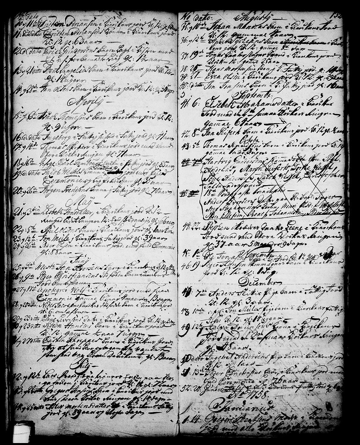 SAKO, Skien kirkebøker, G/Ga/L0001: Klokkerbok nr. 1, 1756-1791, s. 132