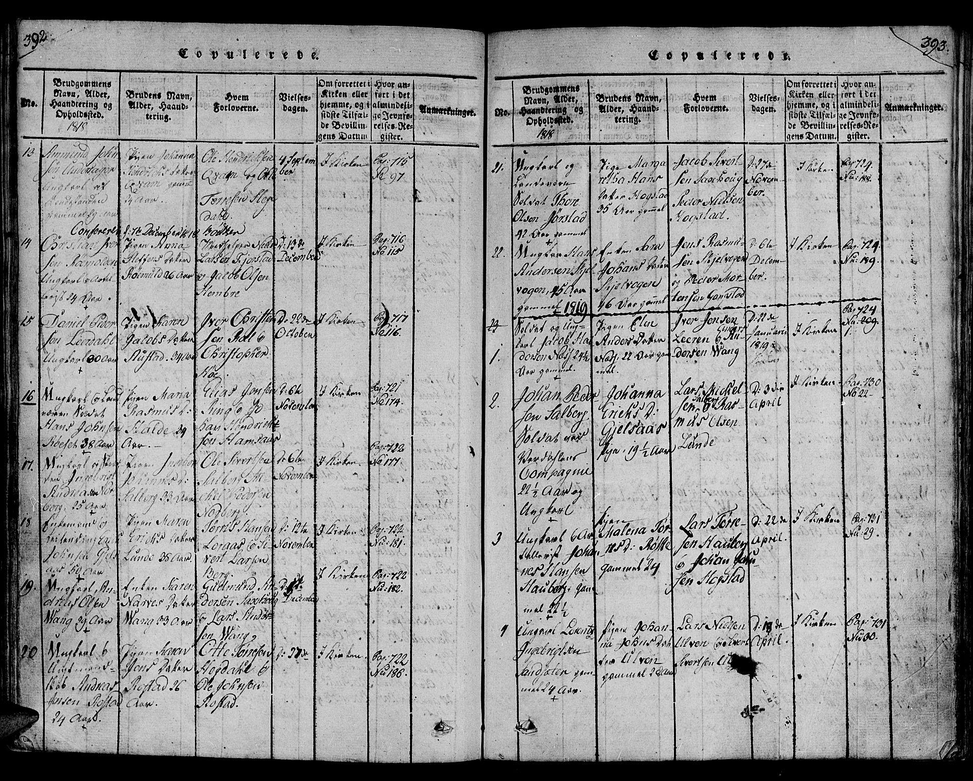 SAT, Ministerialprotokoller, klokkerbøker og fødselsregistre - Nord-Trøndelag, 730/L0275: Ministerialbok nr. 730A04, 1816-1822, s. 392-393