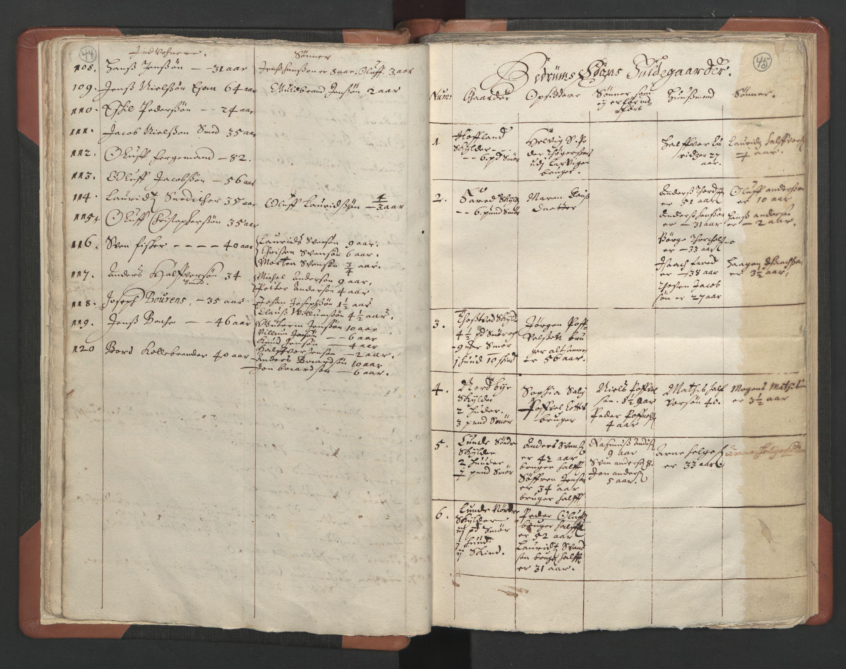 RA, Sogneprestenes manntall 1664-1666, nr. 11: Brunlanes prosti, 1664-1666, s. 44-45