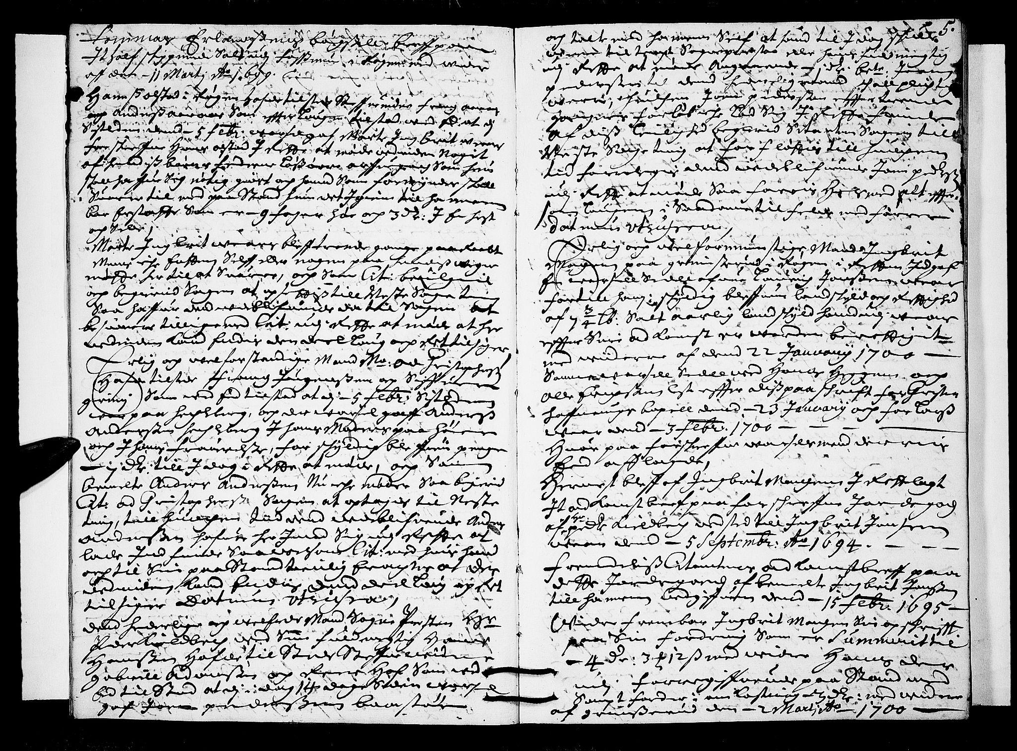 SAKO, Lier, Røyken og Hurum sorenskriveri, F/Fa/L0038: Tingbok, 1700, s. 5