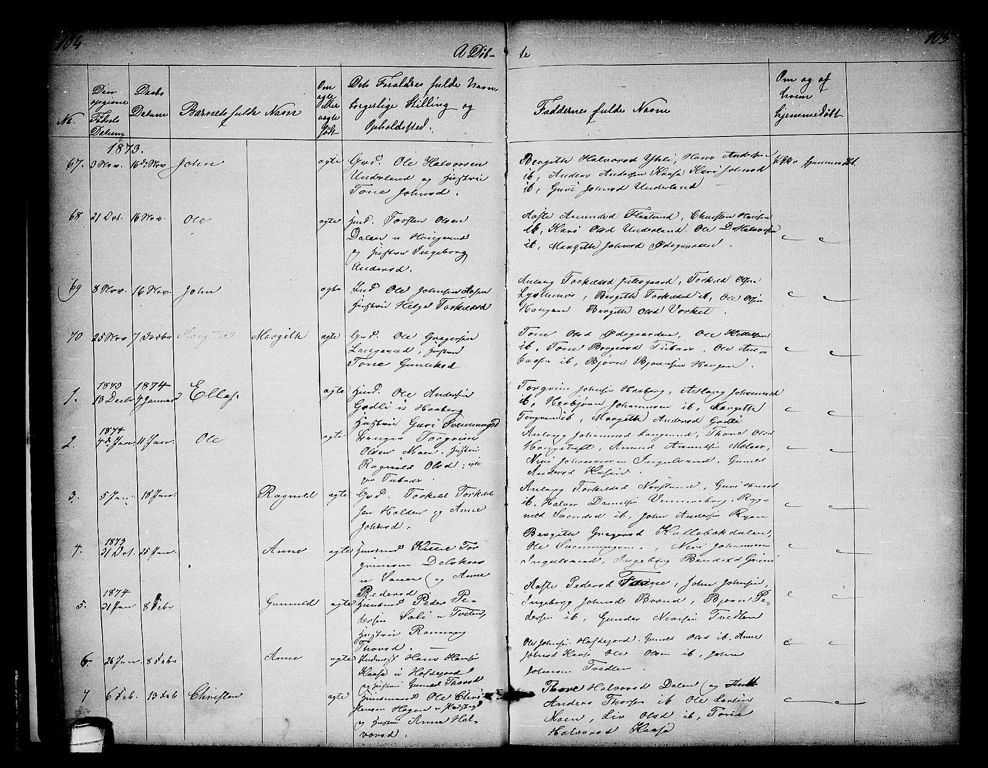 SAKO, Heddal kirkebøker, G/Ga/L0001: Klokkerbok nr. I 1, 1866-1878, s. 104-105