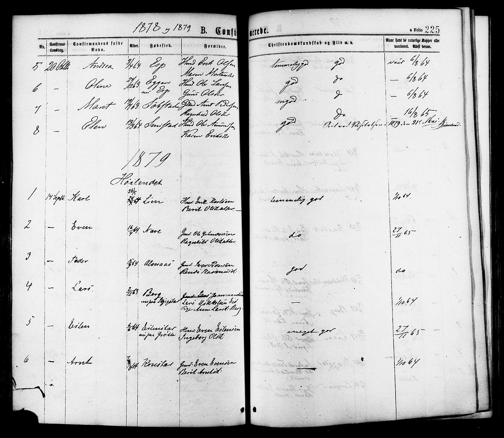 SAT, Ministerialprotokoller, klokkerbøker og fødselsregistre - Sør-Trøndelag, 691/L1079: Ministerialbok nr. 691A11, 1873-1886, s. 225