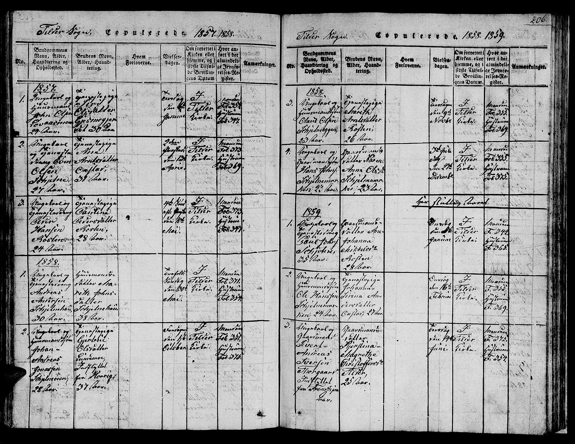 SAT, Ministerialprotokoller, klokkerbøker og fødselsregistre - Sør-Trøndelag, 621/L0458: Klokkerbok nr. 621C01, 1816-1865, s. 206