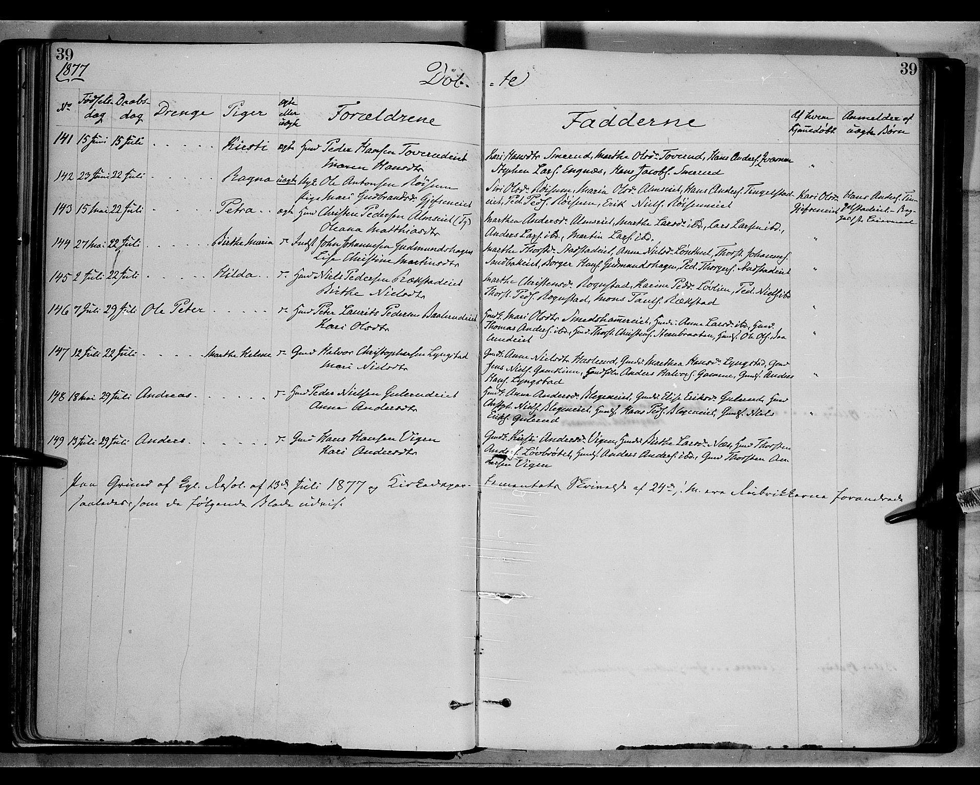 SAH, Gran prestekontor, Ministerialbok nr. 13, 1875-1879, s. 39