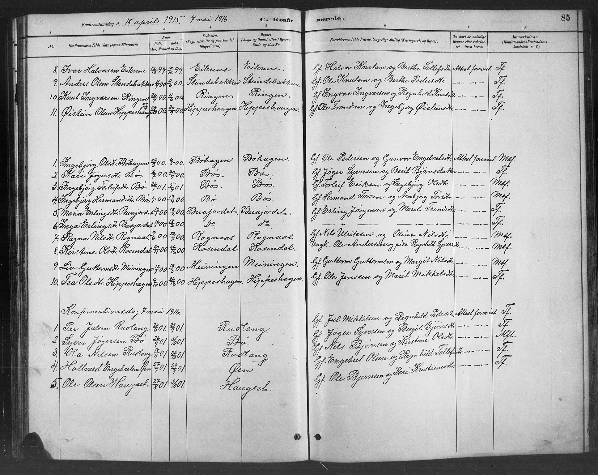 SAH, Nord-Aurdal prestekontor, Klokkerbok nr. 8, 1883-1916, s. 85