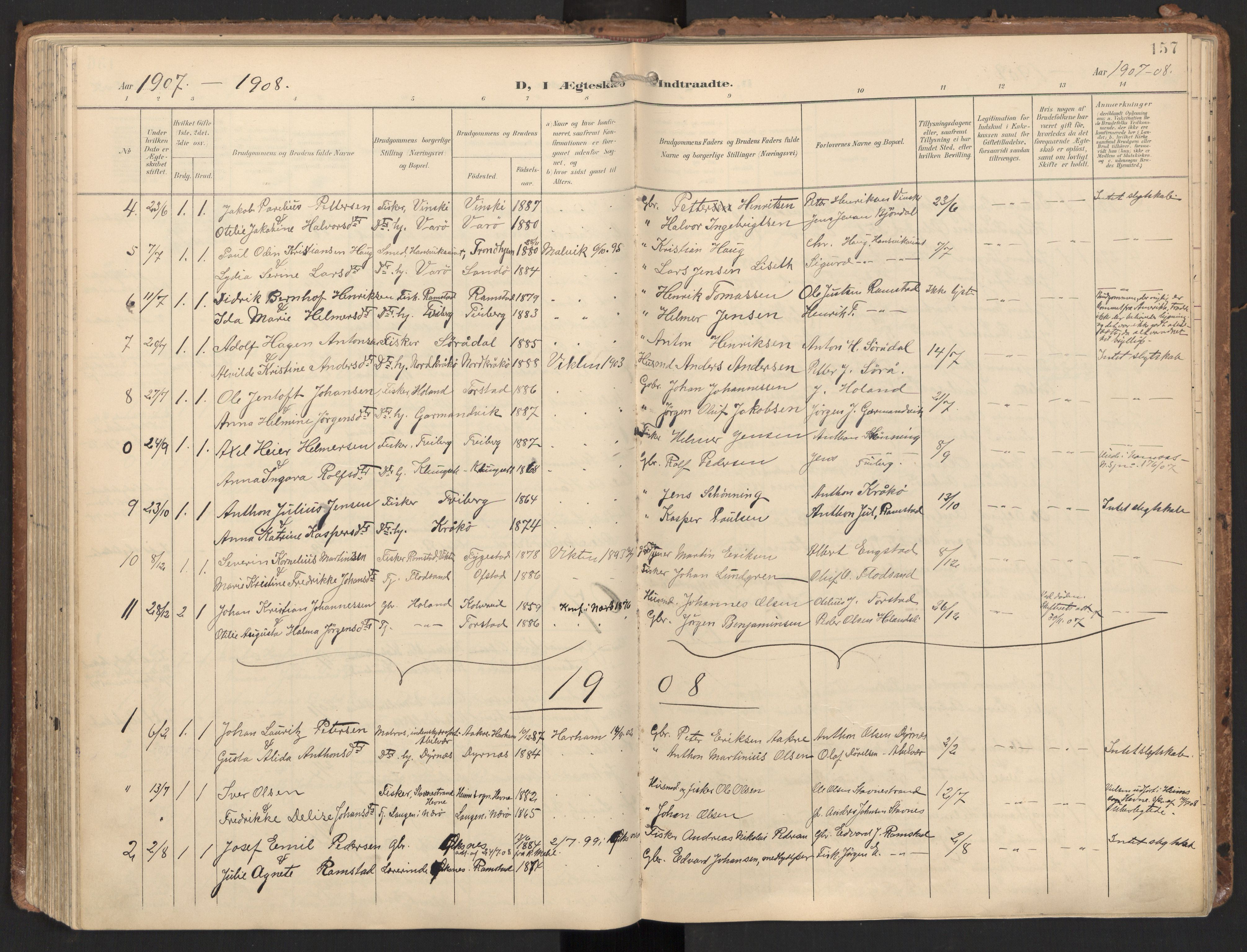 SAT, Ministerialprotokoller, klokkerbøker og fødselsregistre - Nord-Trøndelag, 784/L0677: Ministerialbok nr. 784A12, 1900-1920, s. 157