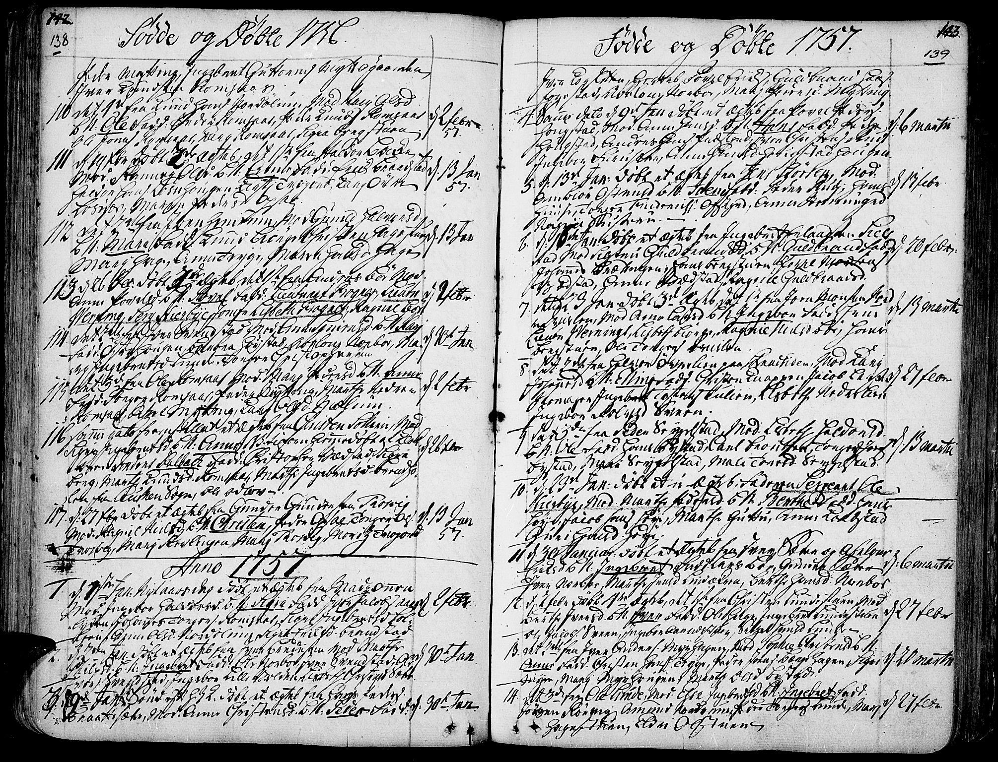 SAH, Ringebu prestekontor, Ministerialbok nr. 2, 1734-1780, s. 138-139