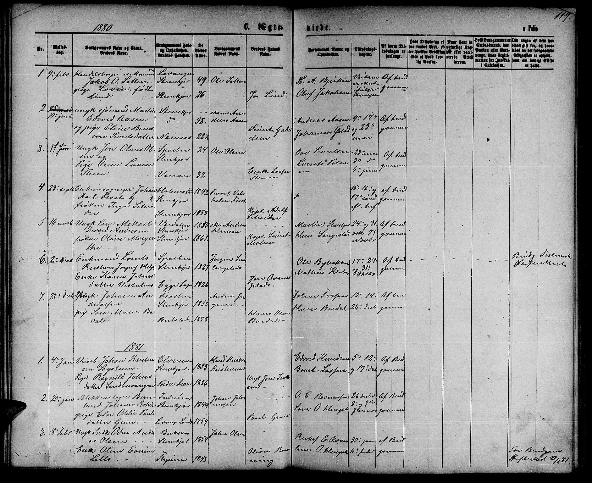 SAT, Ministerialprotokoller, klokkerbøker og fødselsregistre - Nord-Trøndelag, 739/L0373: Klokkerbok nr. 739C01, 1865-1882, s. 119
