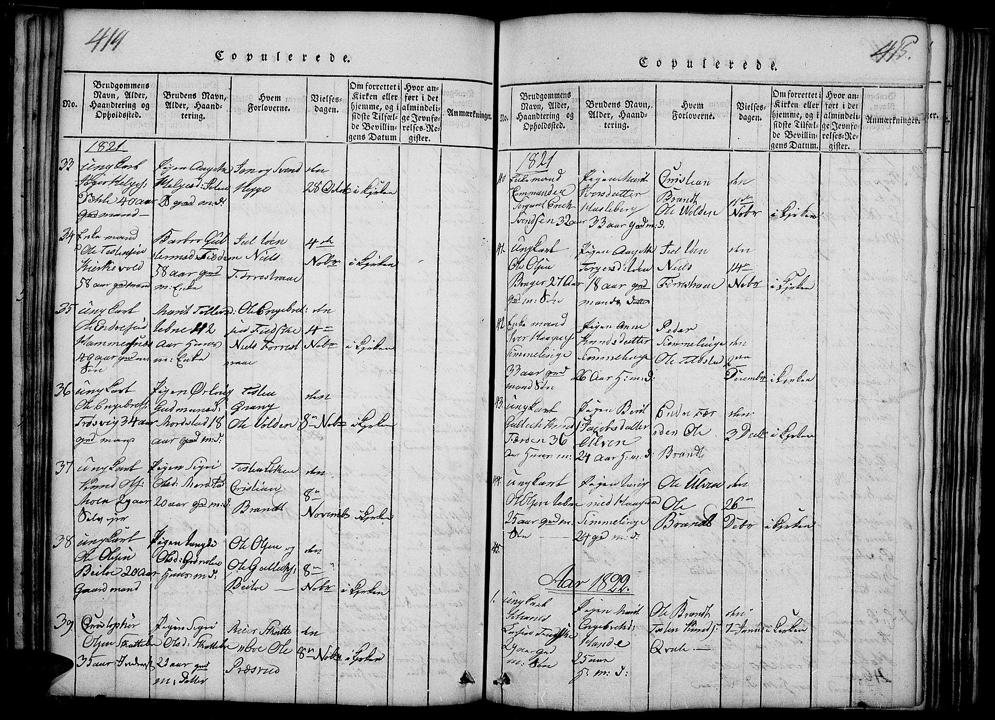 SAH, Slidre prestekontor, Ministerialbok nr. 2, 1814-1830, s. 414-415