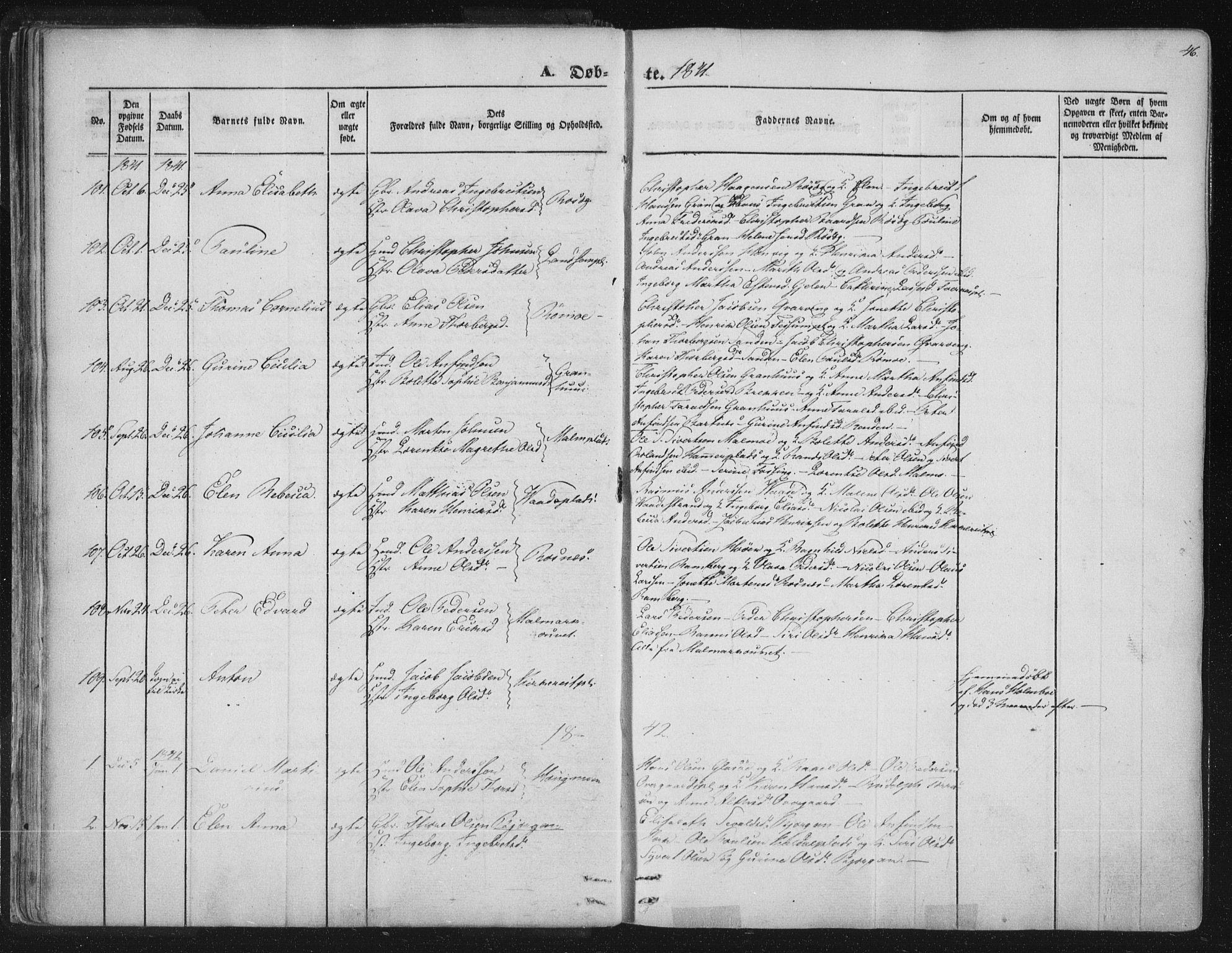 SAT, Ministerialprotokoller, klokkerbøker og fødselsregistre - Nord-Trøndelag, 741/L0392: Ministerialbok nr. 741A06, 1836-1848, s. 46