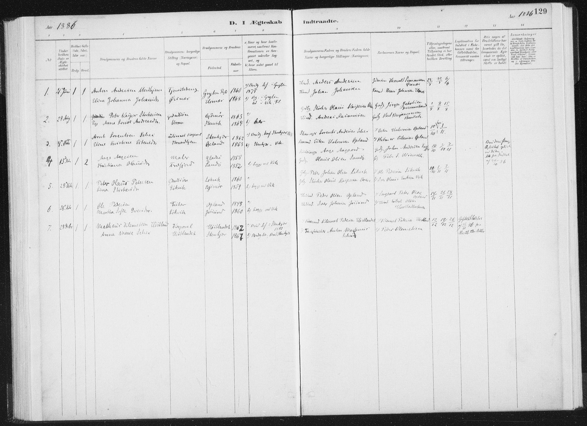 SAT, Ministerialprotokoller, klokkerbøker og fødselsregistre - Nord-Trøndelag, 771/L0597: Ministerialbok nr. 771A04, 1885-1910, s. 129