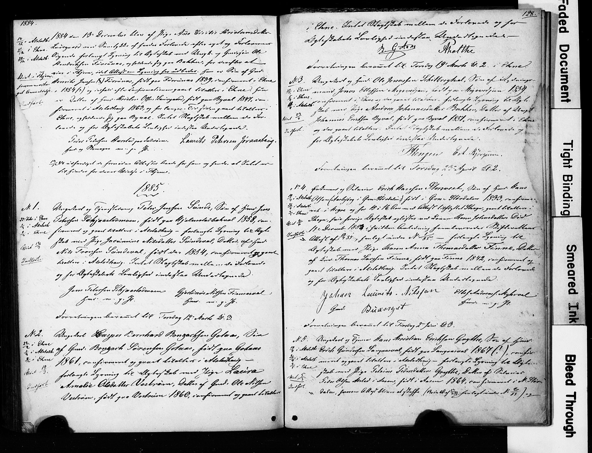 SAT, Ministerialprotokoller, klokkerbøker og fødselsregistre - Nord-Trøndelag, 717/L0161: Forlovererklæringer nr. 717A11, 1850-1895, s. 128