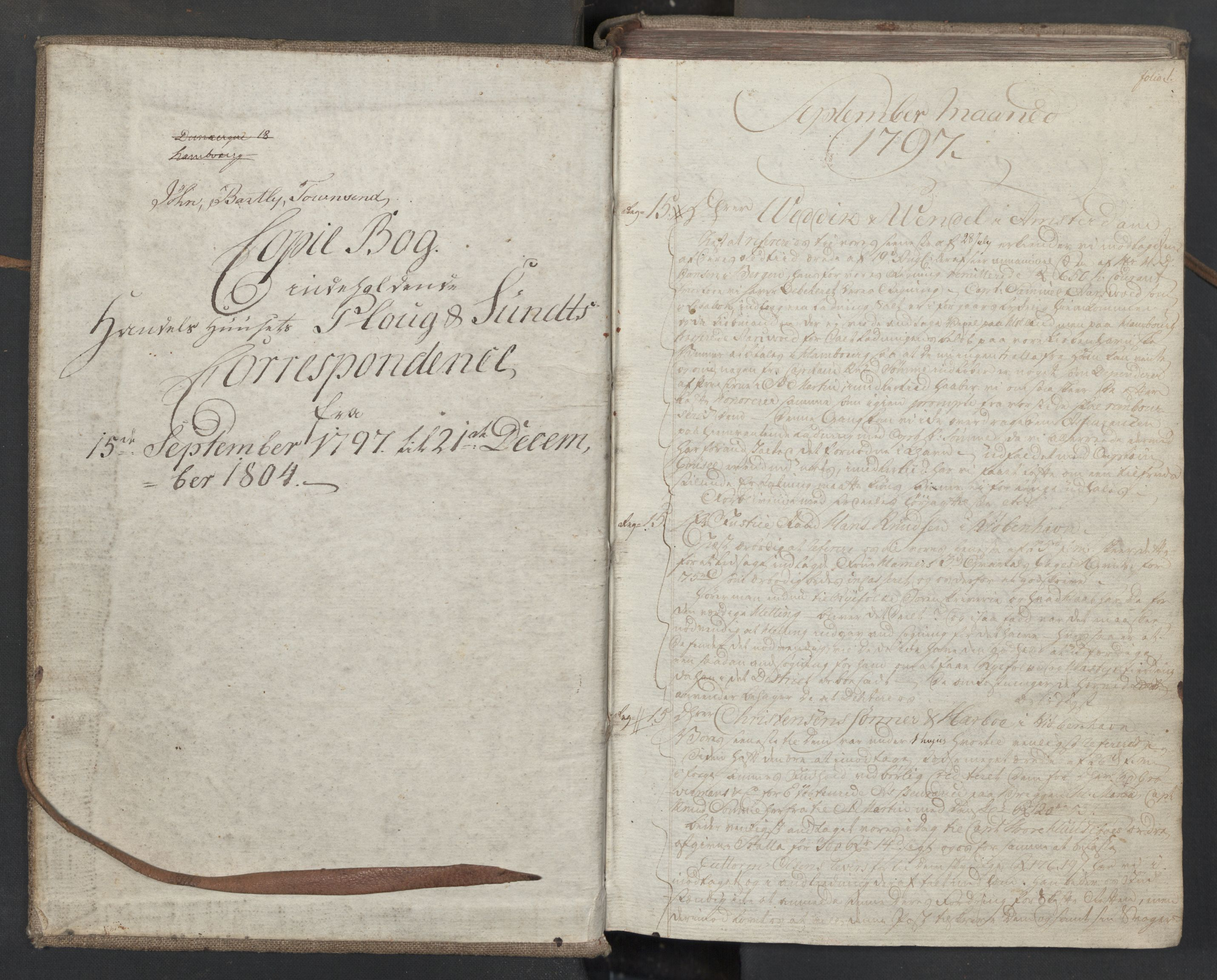 SAST, Pa 0003 - Ploug & Sundt, handelshuset, B/L0008: Kopibok, 1797-1804, s. 1a