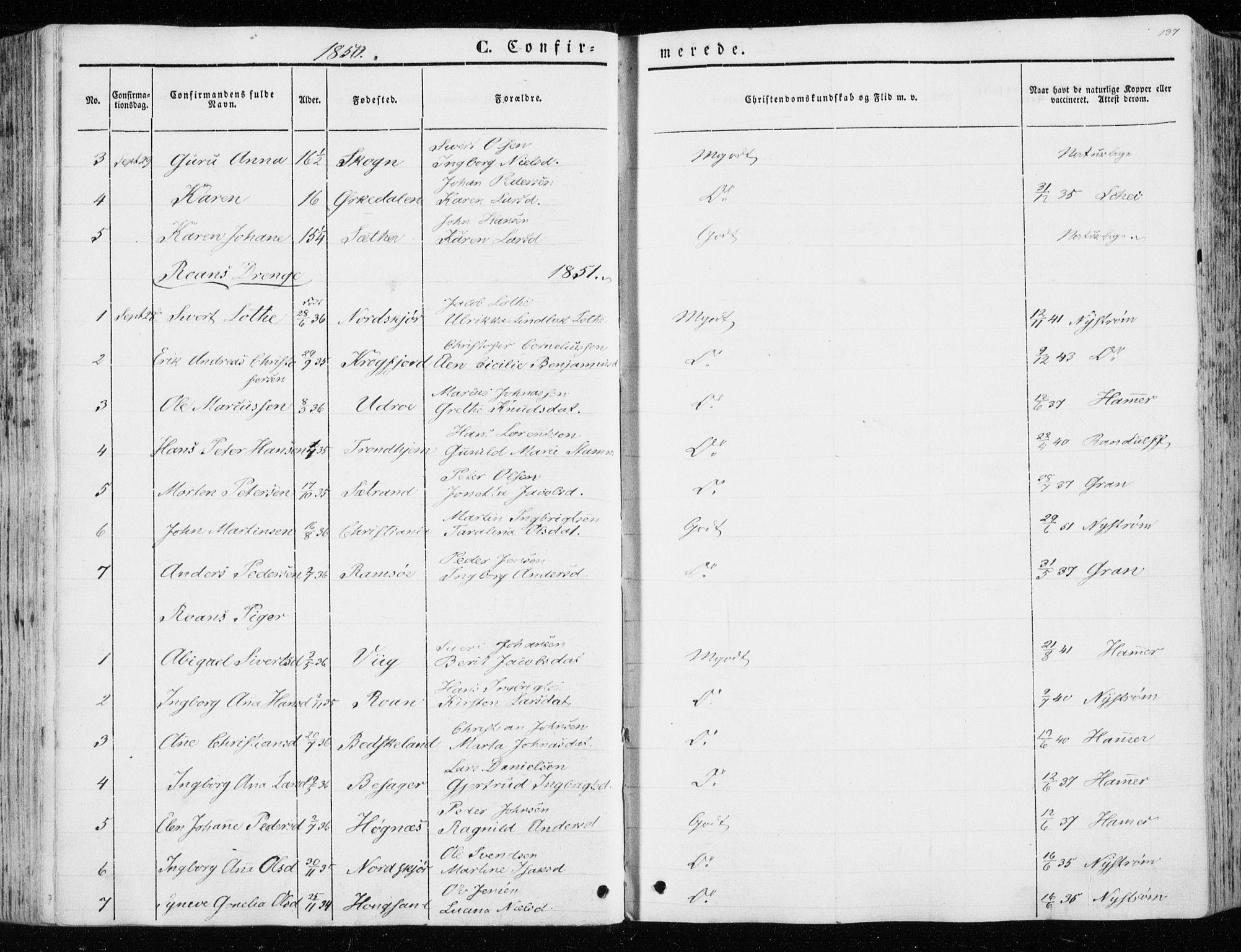 SAT, Ministerialprotokoller, klokkerbøker og fødselsregistre - Sør-Trøndelag, 657/L0704: Ministerialbok nr. 657A05, 1846-1857, s. 137