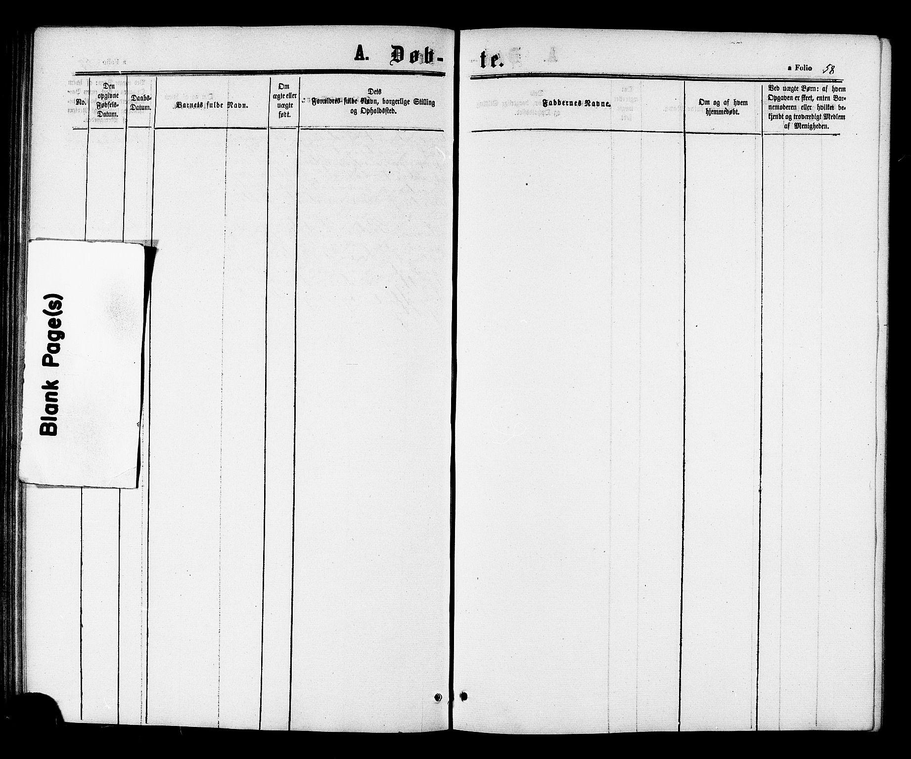 SAT, Ministerialprotokoller, klokkerbøker og fødselsregistre - Sør-Trøndelag, 698/L1163: Ministerialbok nr. 698A01, 1862-1887, s. 58