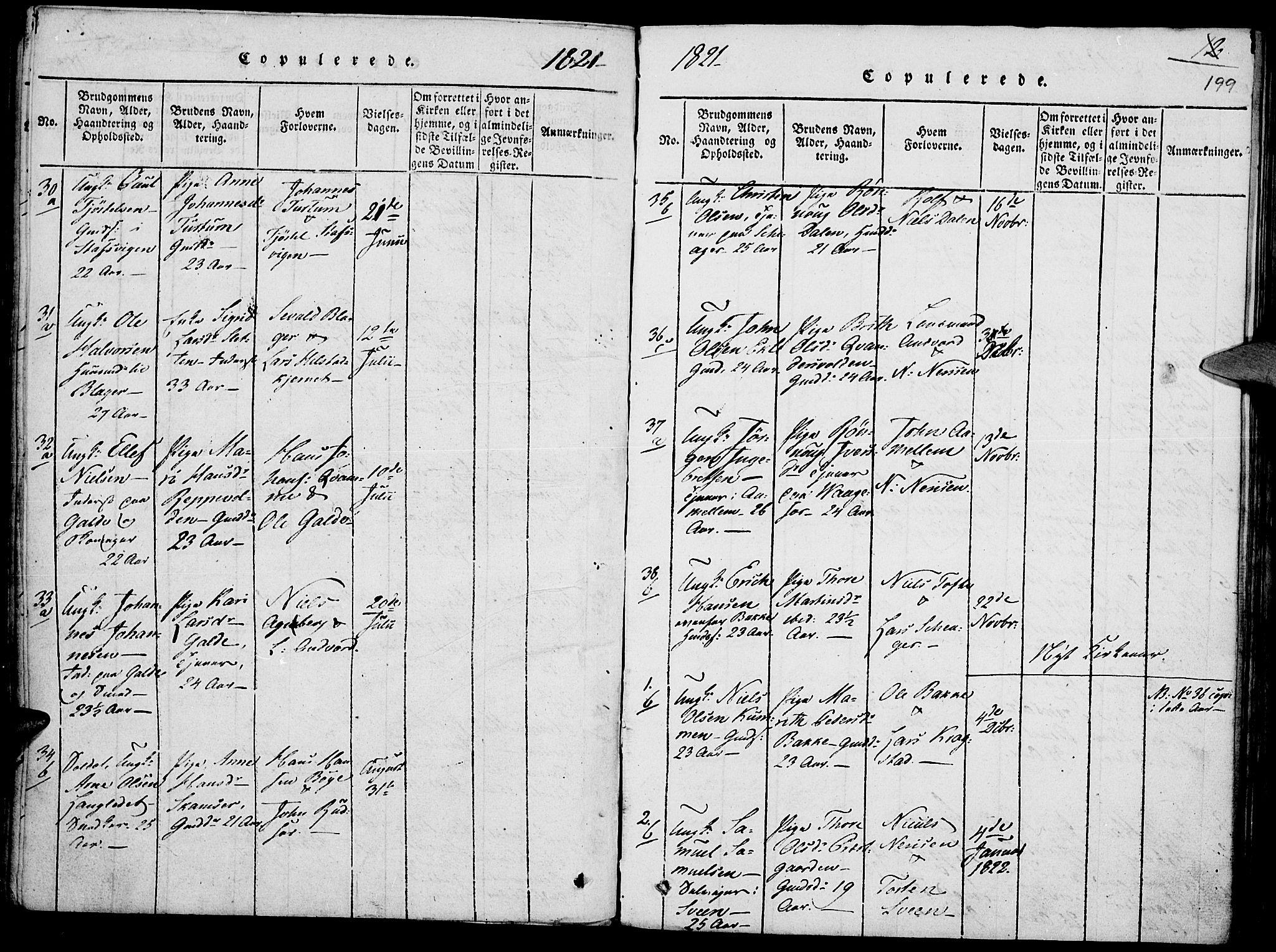 SAH, Lom prestekontor, K/L0004: Ministerialbok nr. 4, 1815-1825, s. 199