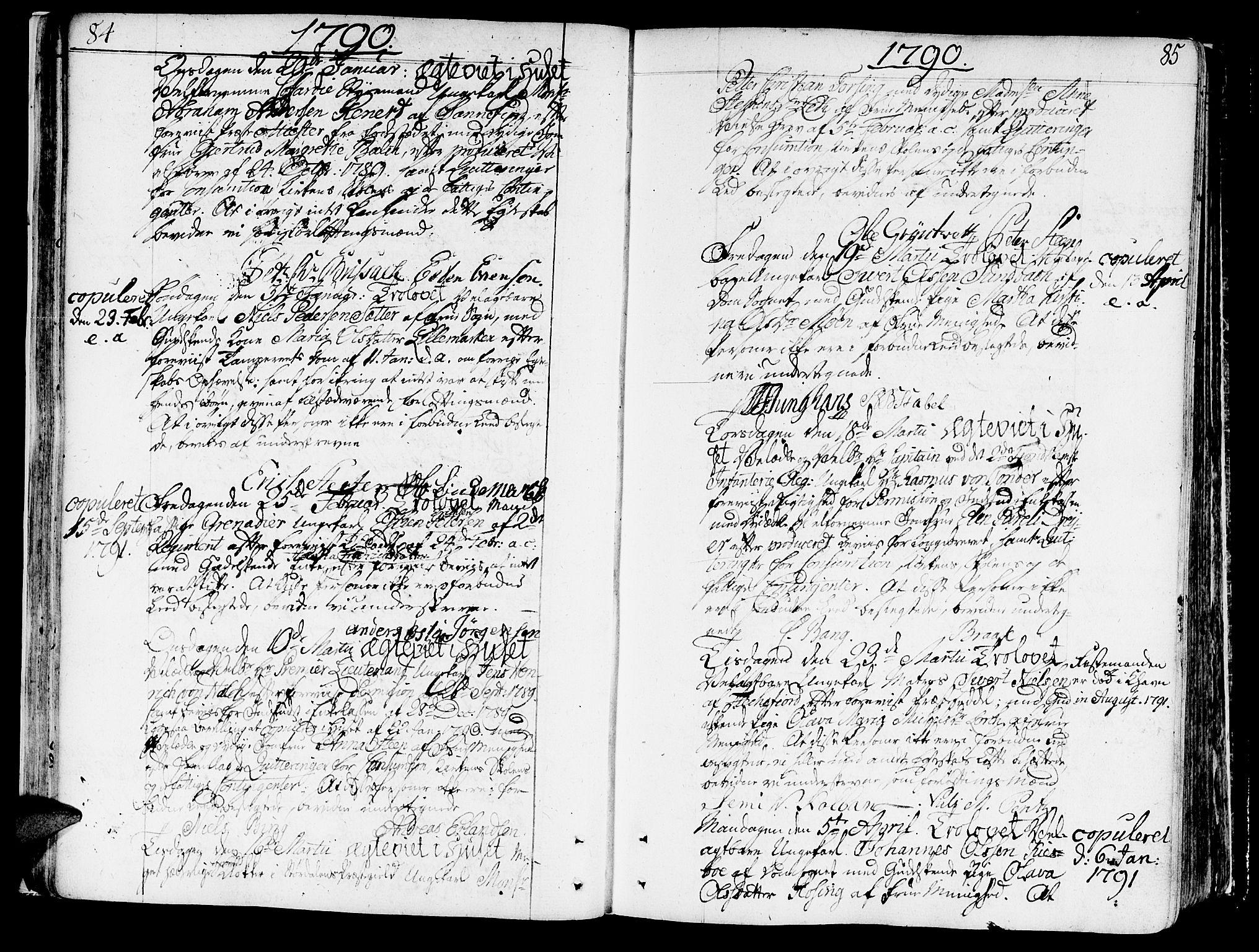 SAT, Ministerialprotokoller, klokkerbøker og fødselsregistre - Sør-Trøndelag, 602/L0105: Ministerialbok nr. 602A03, 1774-1814, s. 84-85