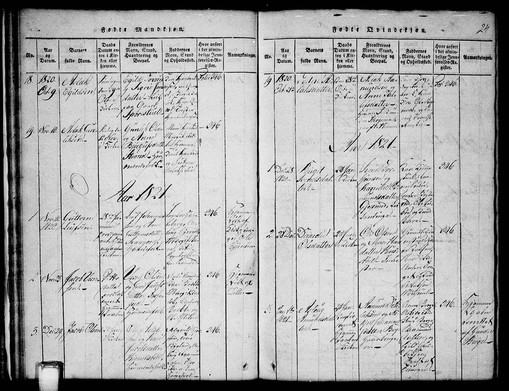 SAKO, Kviteseid kirkebøker, G/Gb/L0001: Klokkerbok nr. II 1, 1815-1842, s. 24
