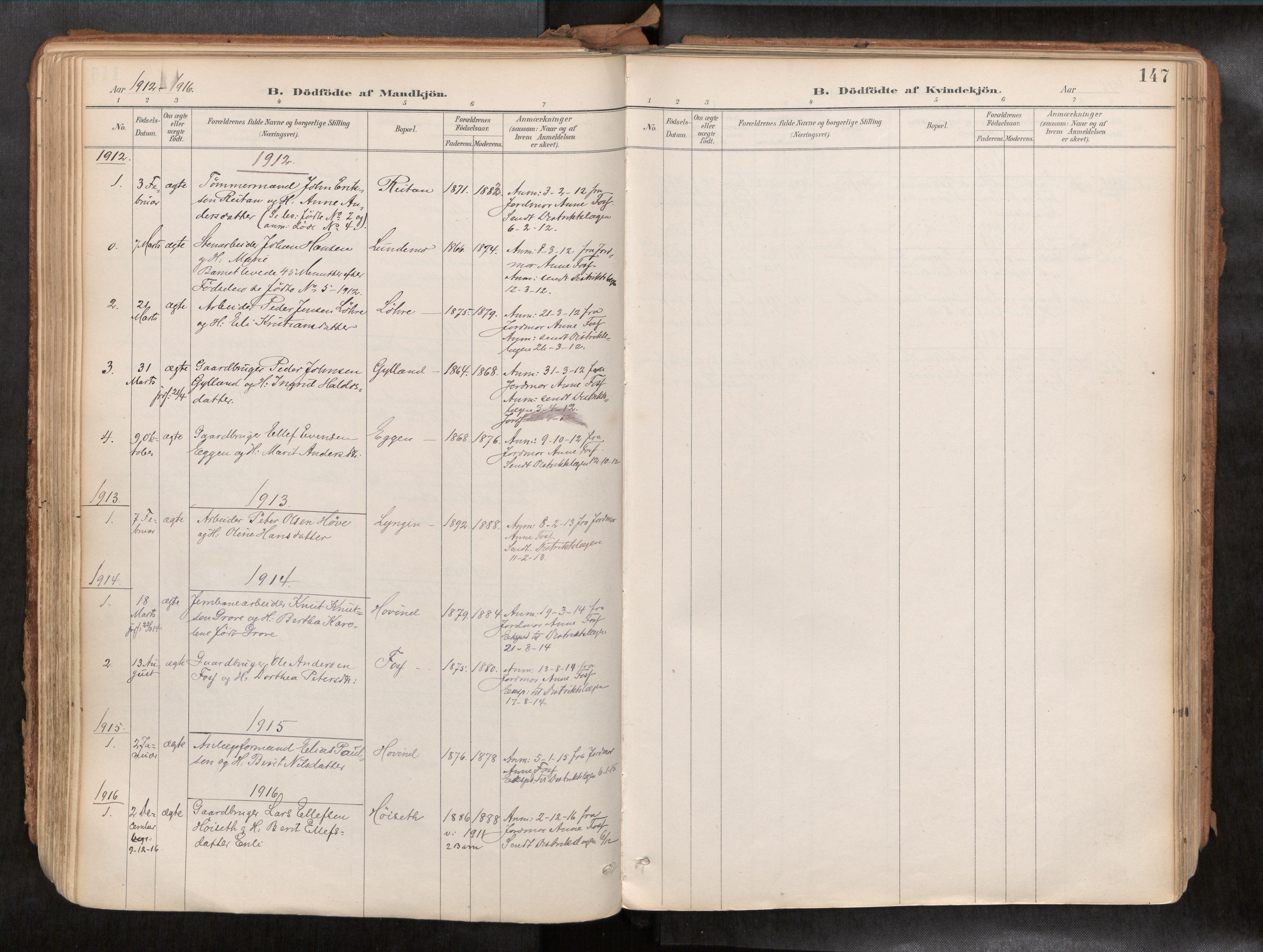 SAT, Ministerialprotokoller, klokkerbøker og fødselsregistre - Sør-Trøndelag, 692/L1105b: Ministerialbok nr. 692A06, 1891-1934, s. 147