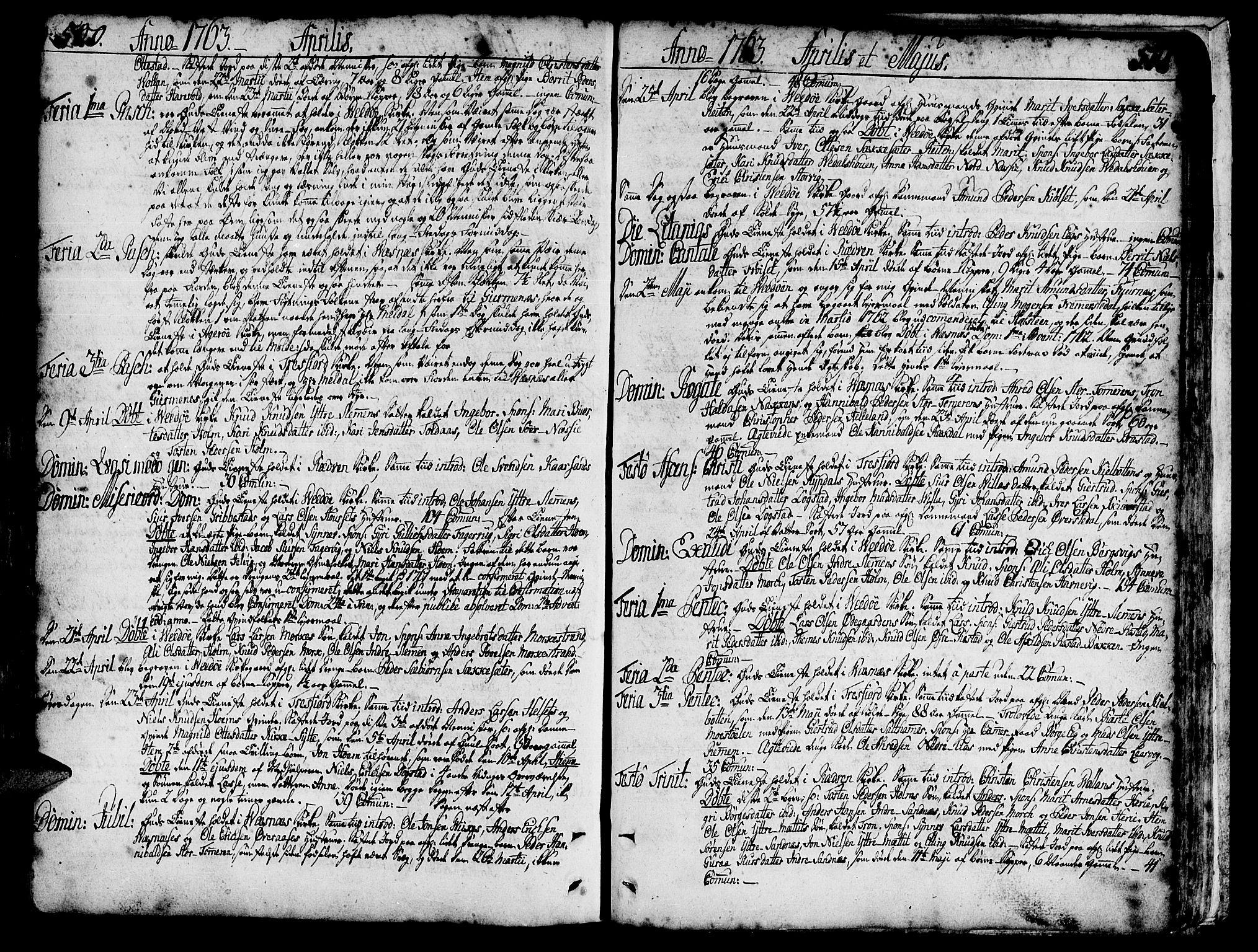 SAT, Ministerialprotokoller, klokkerbøker og fødselsregistre - Møre og Romsdal, 547/L0599: Ministerialbok nr. 547A01, 1721-1764, s. 500-501