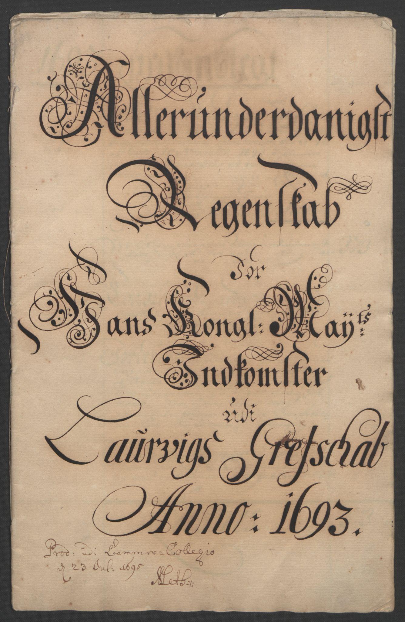 RA, Rentekammeret inntil 1814, Reviderte regnskaper, Fogderegnskap, R33/L1974: Fogderegnskap Larvik grevskap, 1693-1695, s. 3