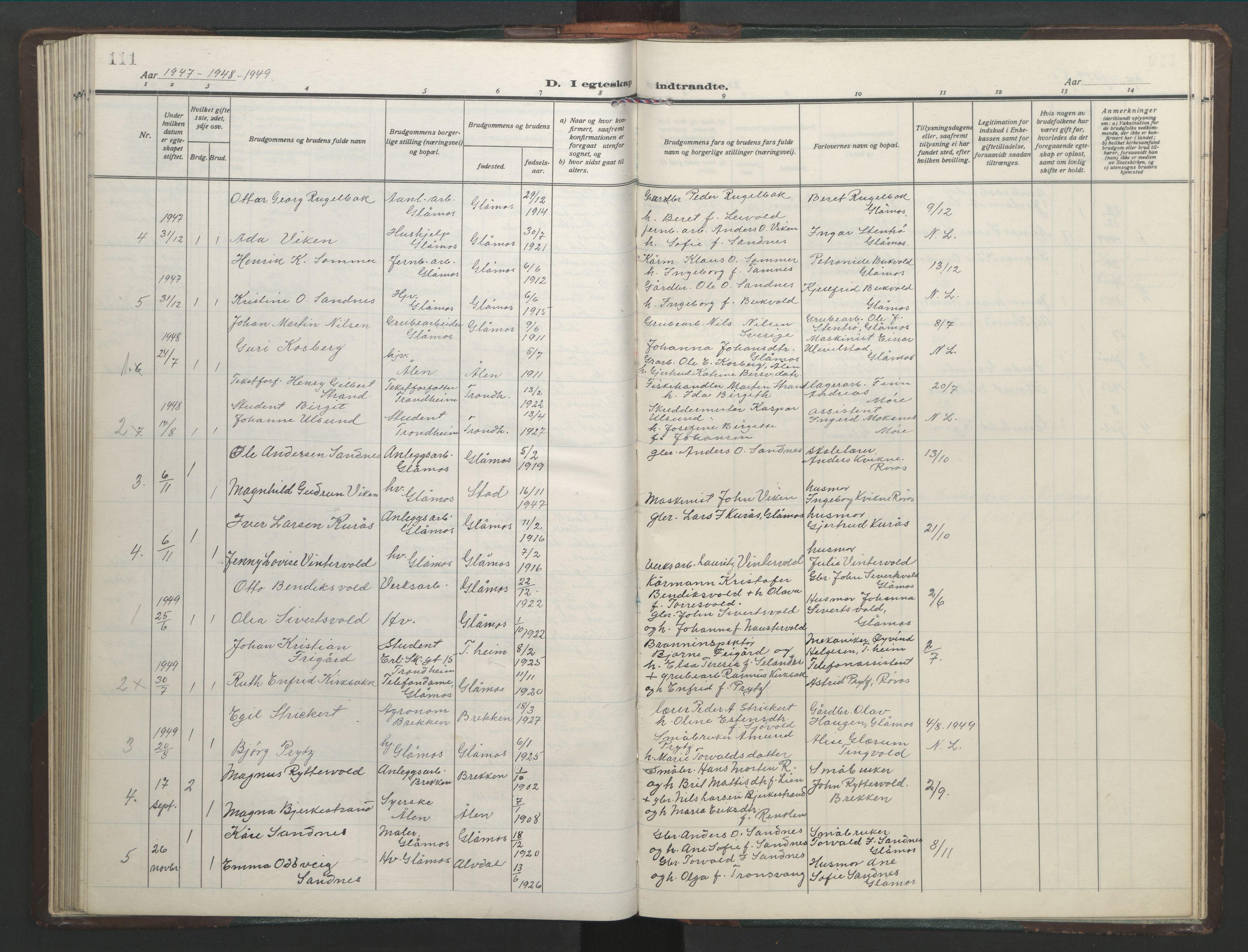 SAT, Ministerialprotokoller, klokkerbøker og fødselsregistre - Sør-Trøndelag, 682/L0947: Klokkerbok nr. 682C01, 1926-1968, s. 111