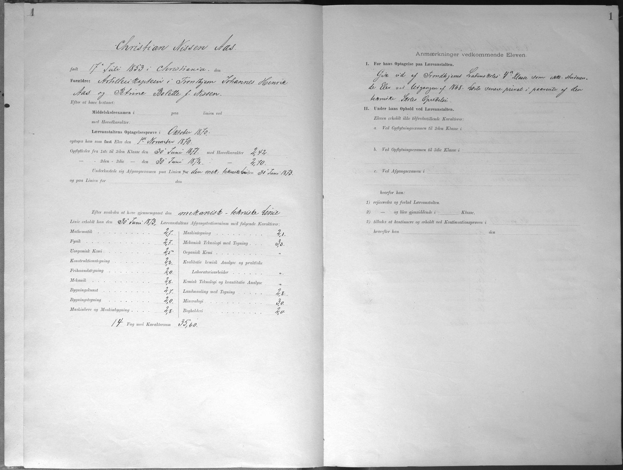 SAT, Trondhjems tekniske læreanstalt, G/Ga/L0046: Karakterprotokoll, faste elever, 1870-1890