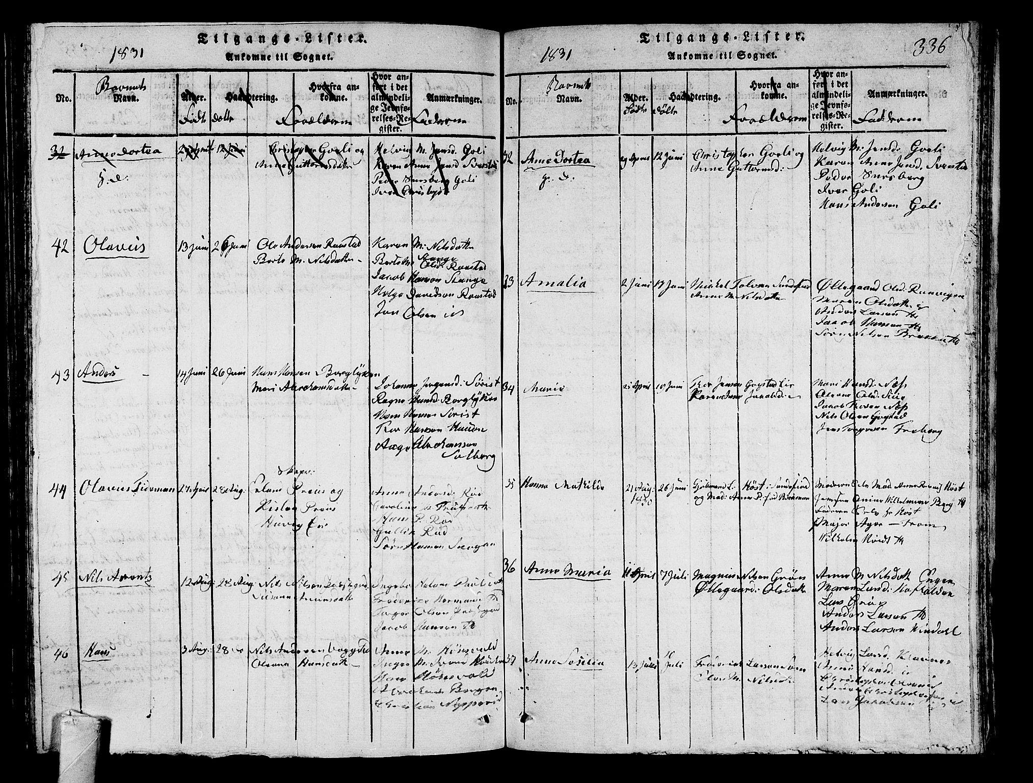 SAKO, Sandar kirkebøker, G/Ga/L0001: Klokkerbok nr. 1, 1814-1835, s. 336