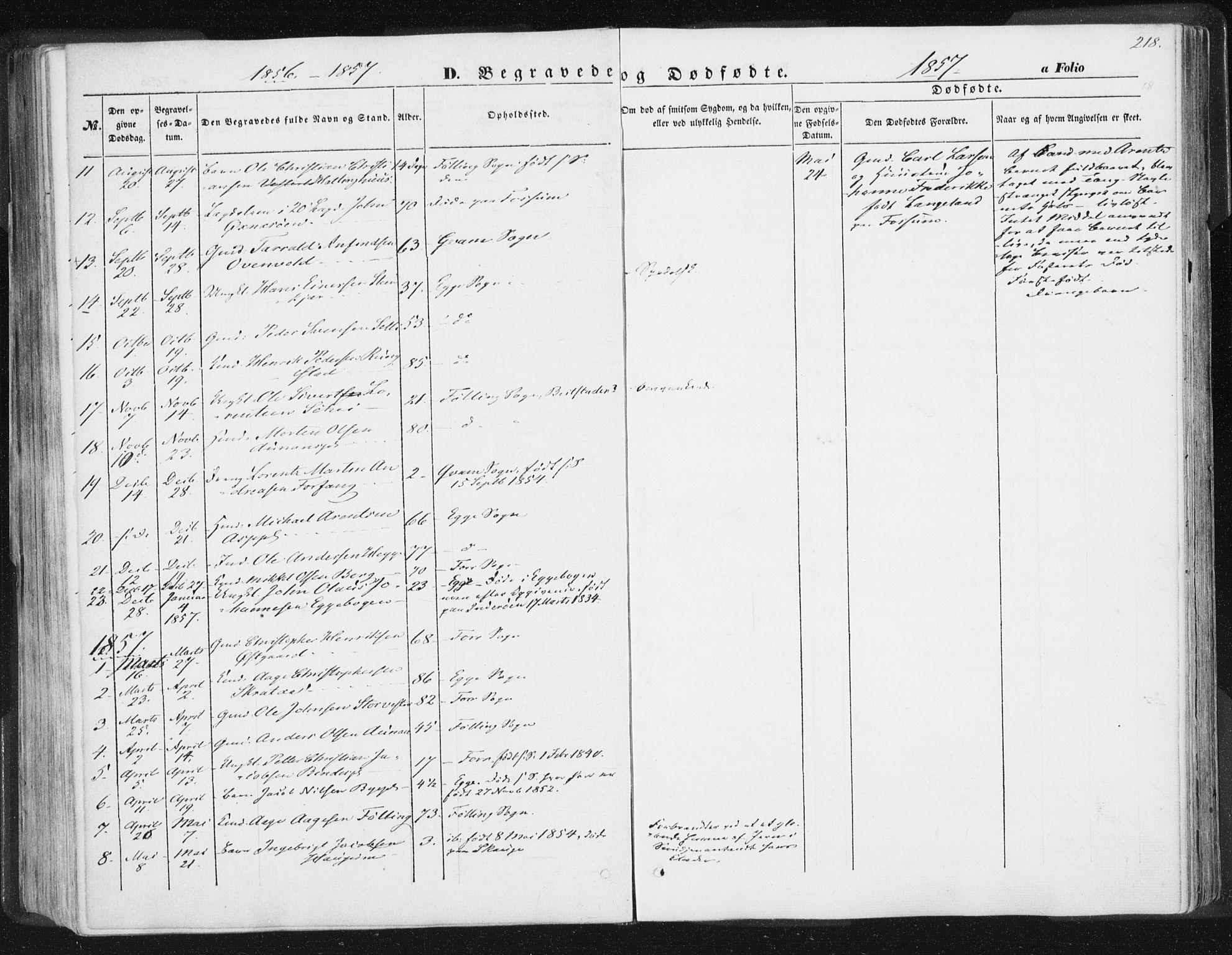 SAT, Ministerialprotokoller, klokkerbøker og fødselsregistre - Nord-Trøndelag, 746/L0446: Ministerialbok nr. 746A05, 1846-1859, s. 218
