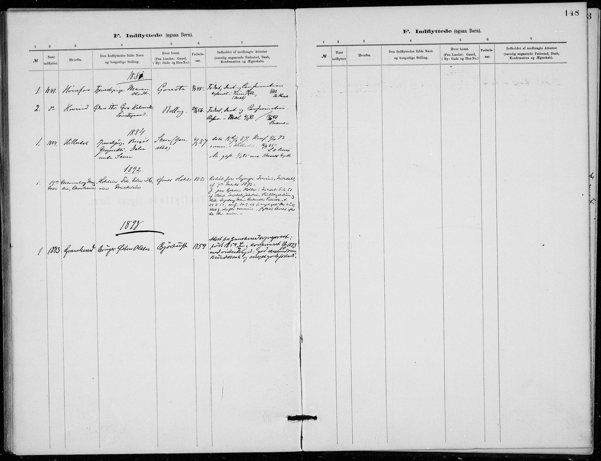 SAKO, Tinn kirkebøker, F/Fb/L0002: Ministerialbok nr. II 2, 1878-1917, s. 148