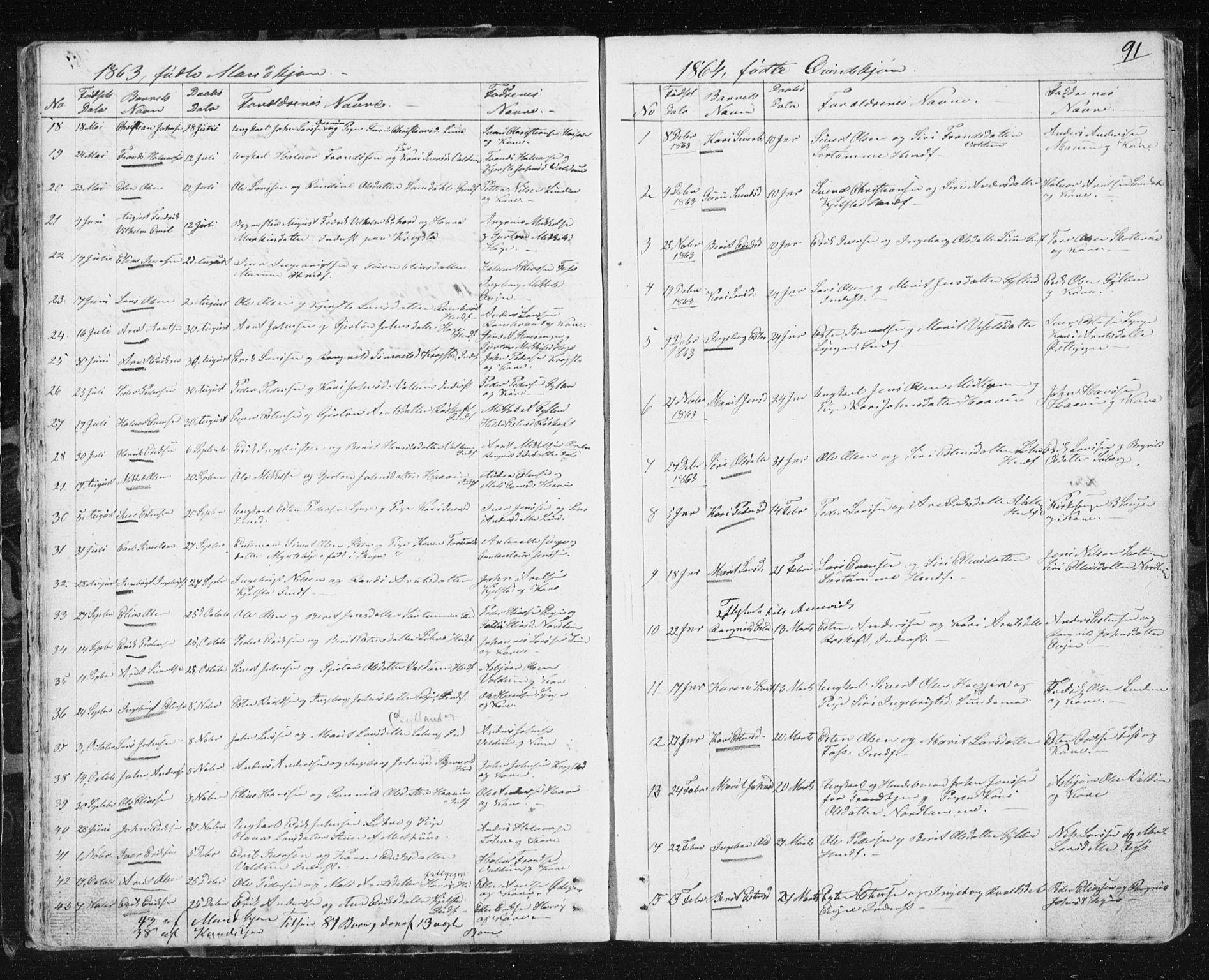 SAT, Ministerialprotokoller, klokkerbøker og fødselsregistre - Sør-Trøndelag, 692/L1110: Klokkerbok nr. 692C05, 1849-1889, s. 91