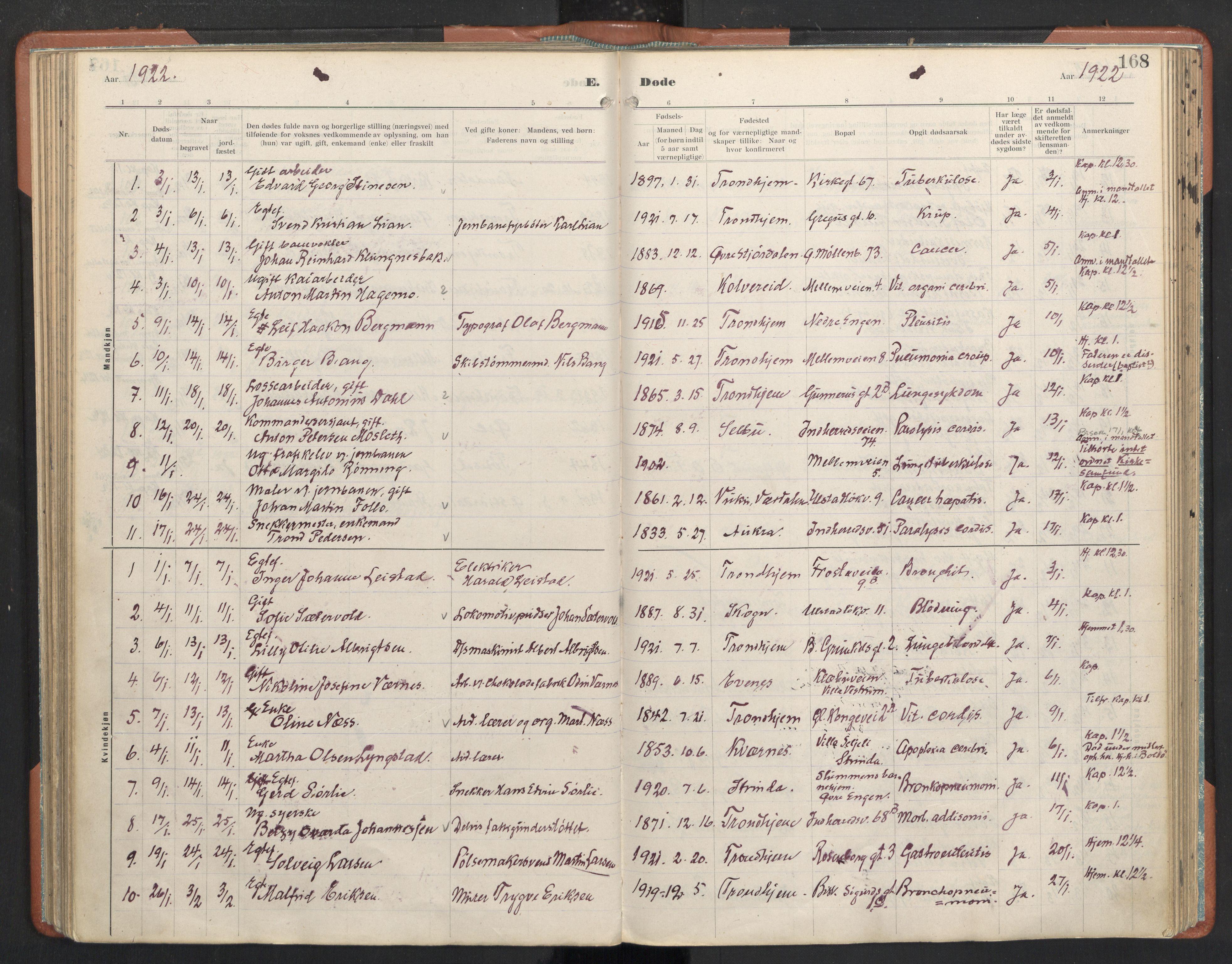 SAT, Ministerialprotokoller, klokkerbøker og fødselsregistre - Sør-Trøndelag, 605/L0245: Ministerialbok nr. 605A07, 1916-1938, s. 168