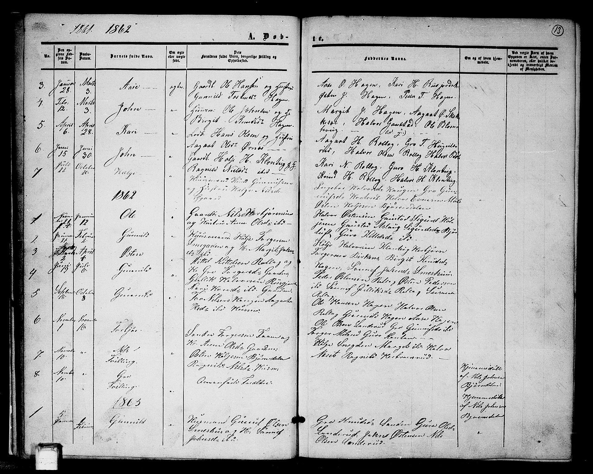 SAKO, Tinn kirkebøker, G/Gb/L0002: Klokkerbok nr. II 2, 1851-1886, s. 13