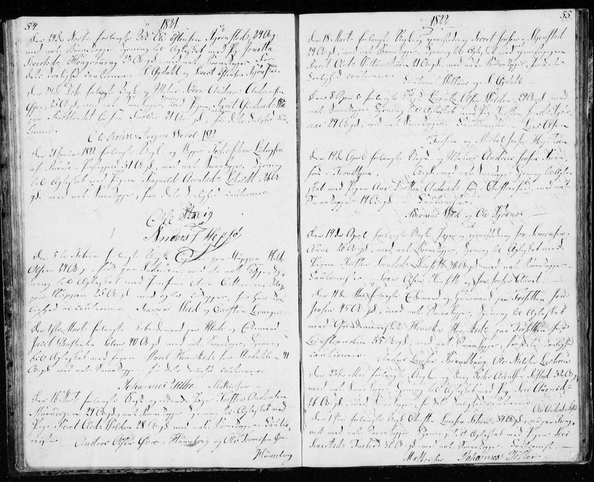 SAT, Ministerialprotokoller, klokkerbøker og fødselsregistre - Sør-Trøndelag, 606/L0295: Lysningsprotokoll nr. 606A10, 1815-1833, s. 54-55
