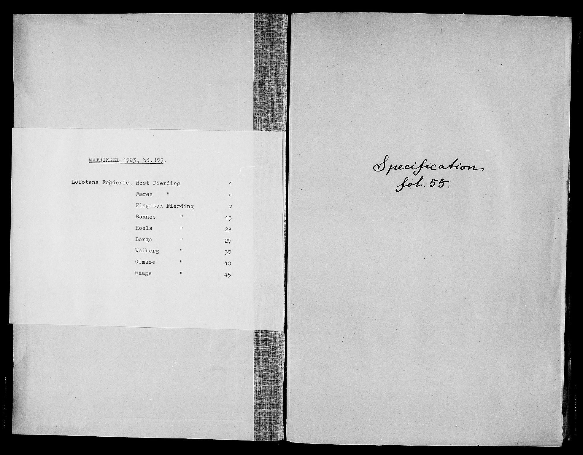 RA, Rentekammeret inntil 1814, Realistisk ordnet avdeling, N/Nb/Nbf/L0175: Lofoten matrikkelprotokoll, 1723, s. upaginert