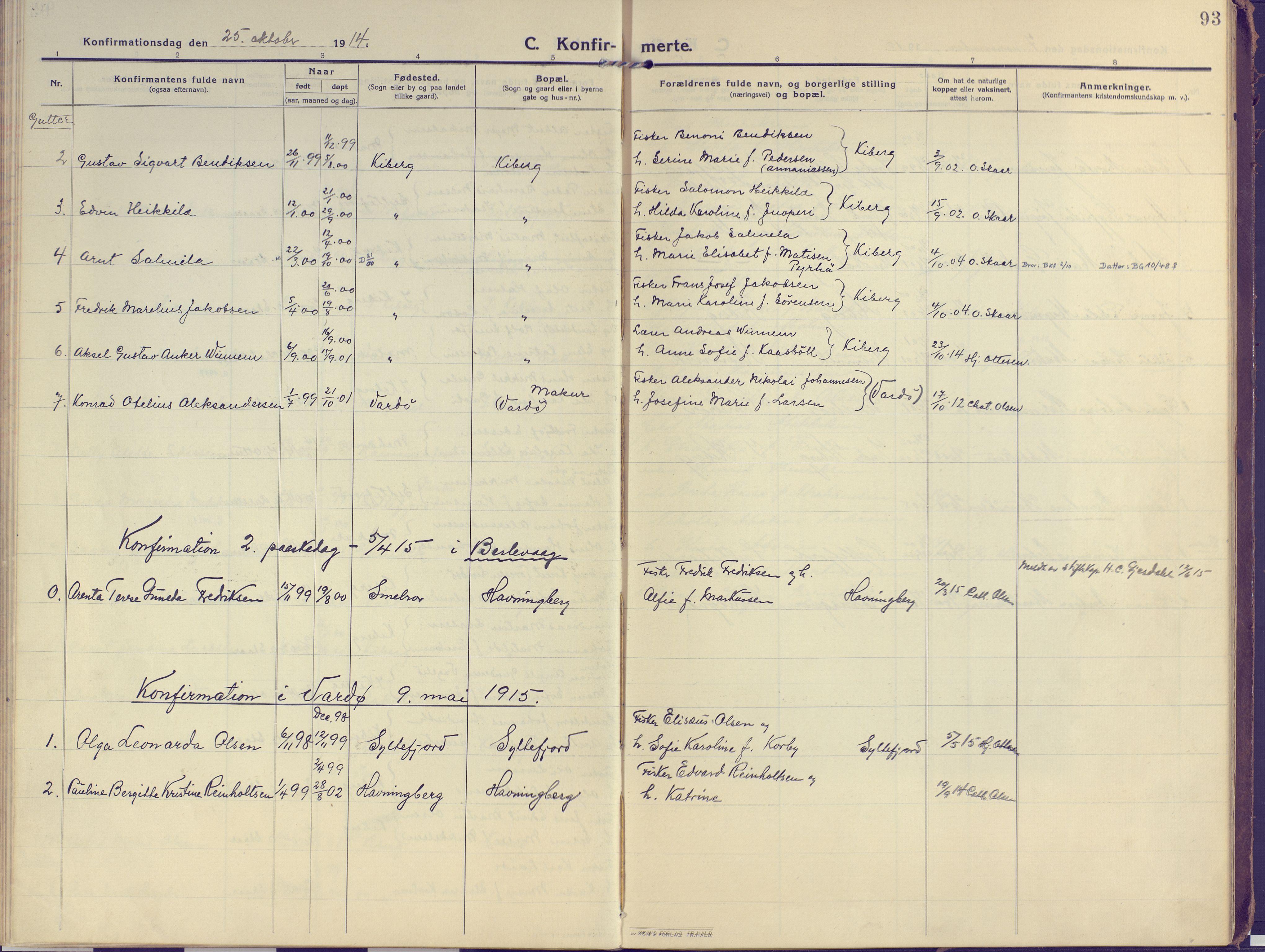SATØ, Vardø sokneprestkontor, H/Ha/L0013kirke: Ministerialbok nr. 13, 1912-1928, s. 93