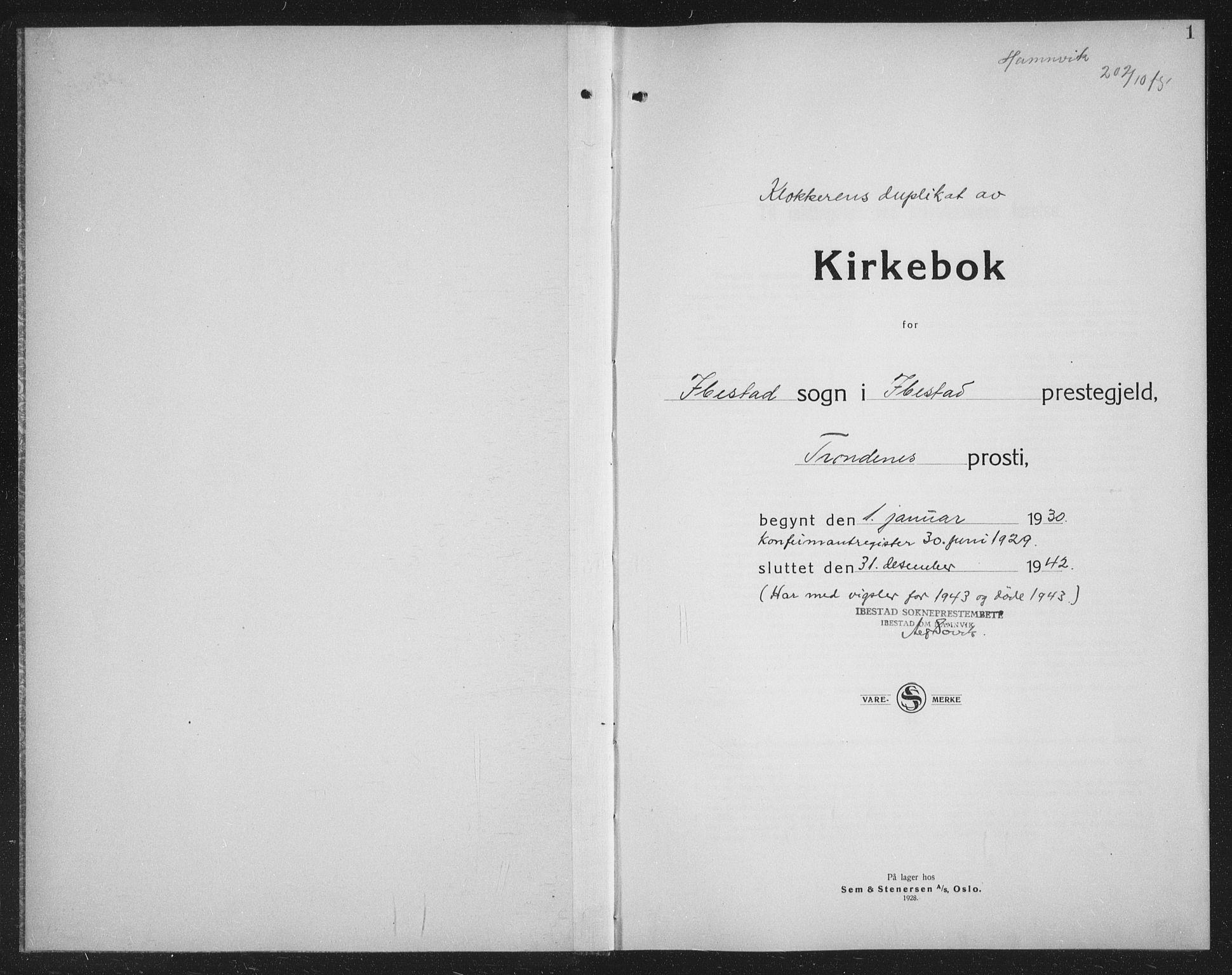 SATØ, Ibestad sokneprestembete, Klokkerbok nr. 11, 1930-1942, s. 1